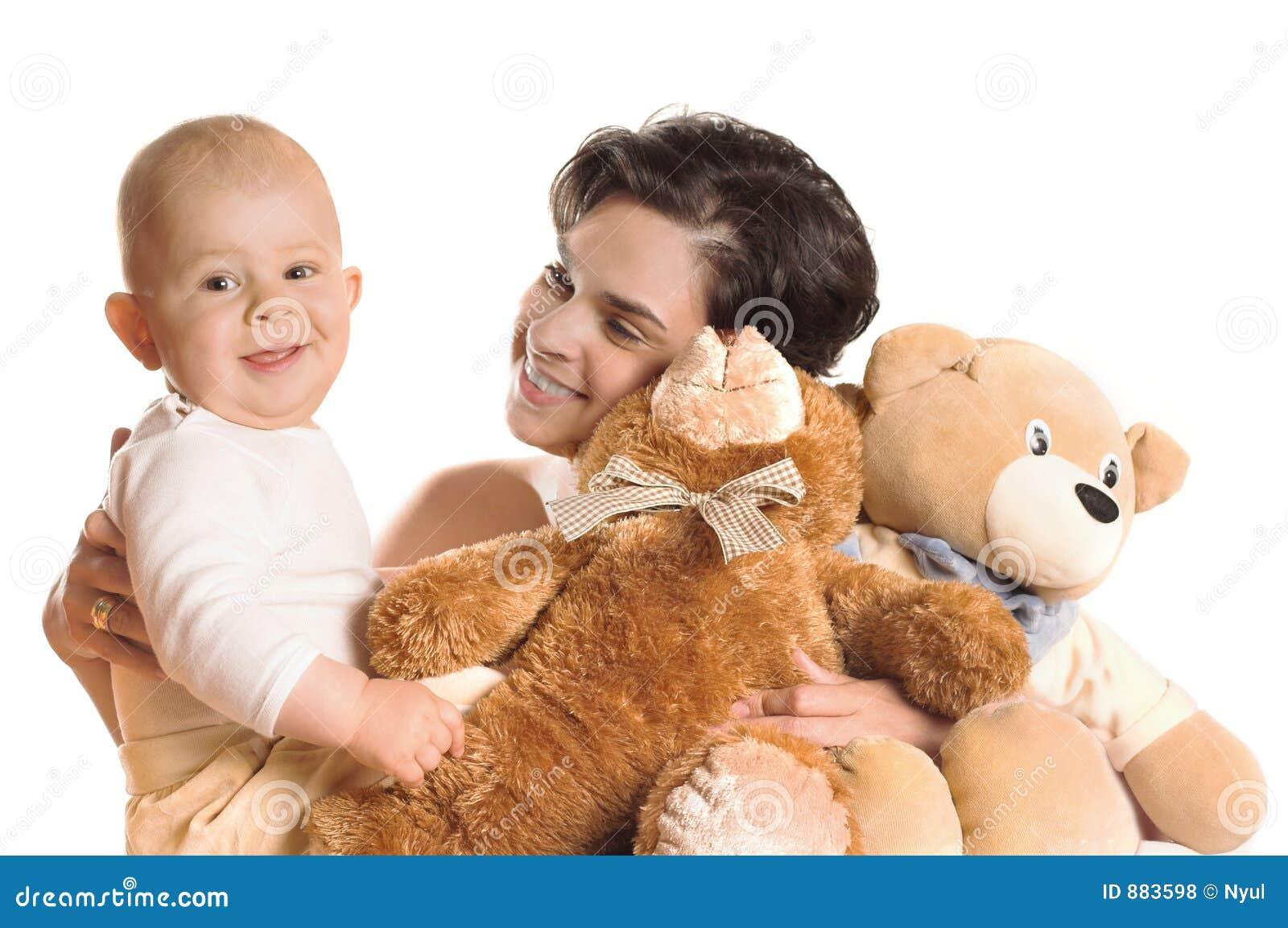 Niedźwiedzie dziecka matki teddy