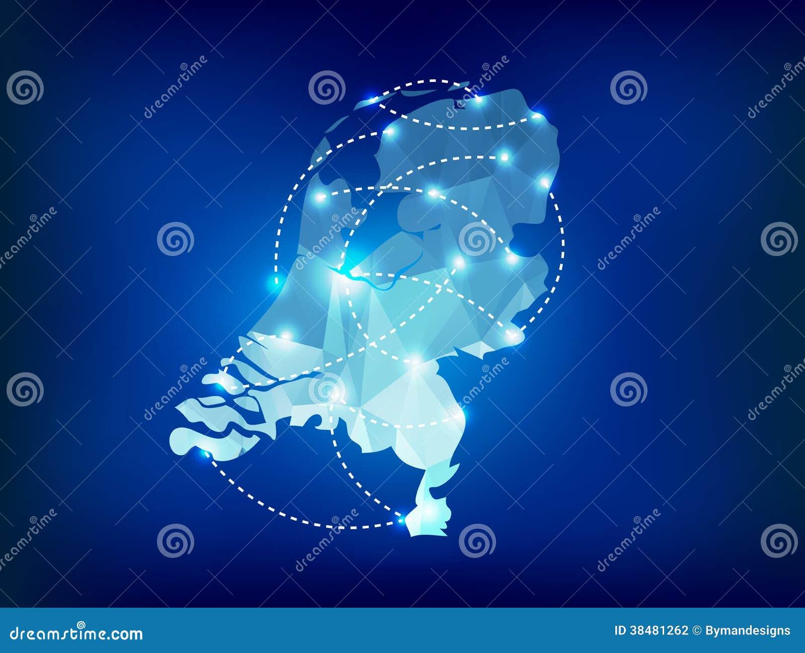 Niederländische Landkarte polygonal mit Scheinwerferlichtern