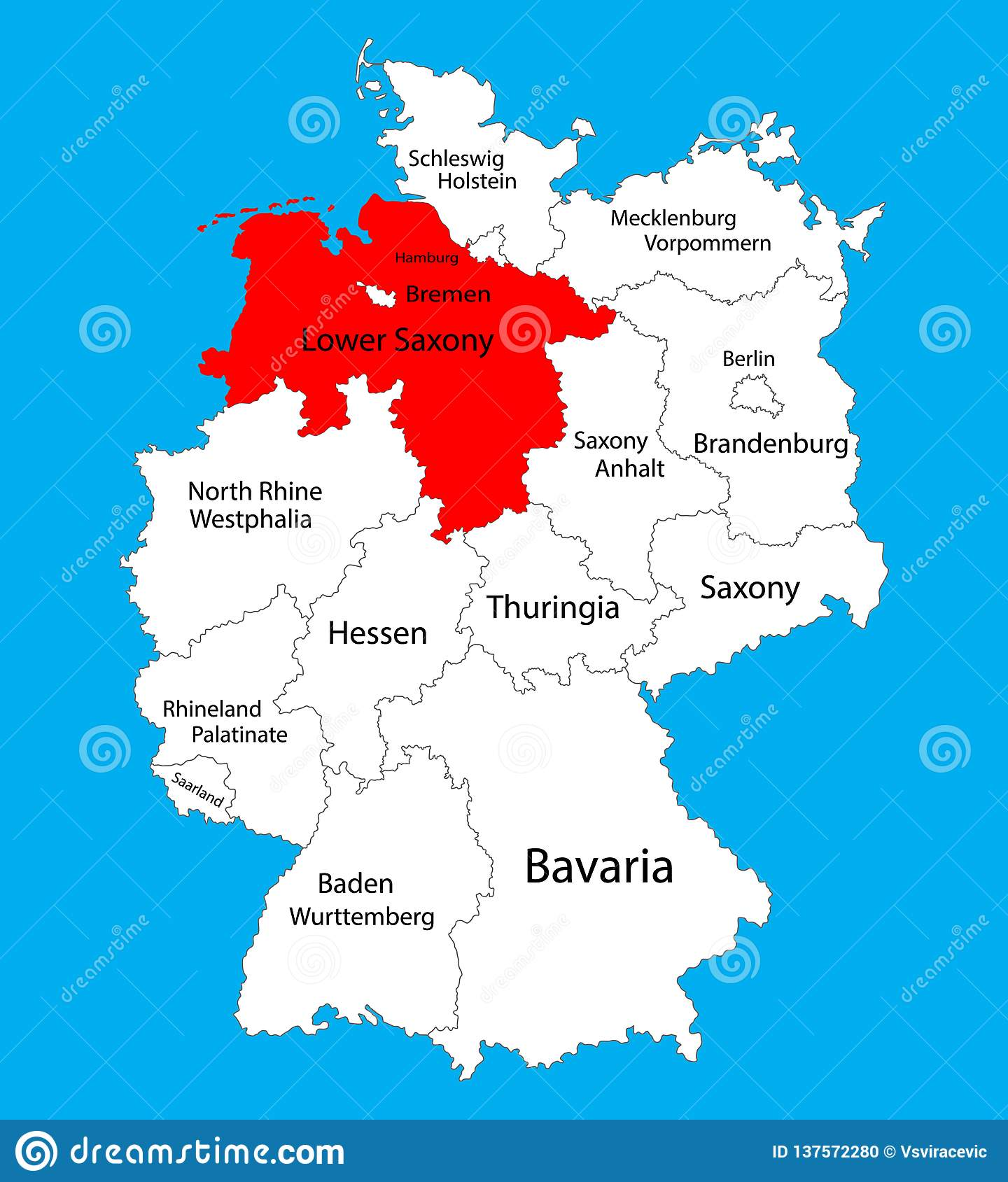 Germany Map States.Niedersachsen Lower Saxony State Map Germany Vector Map