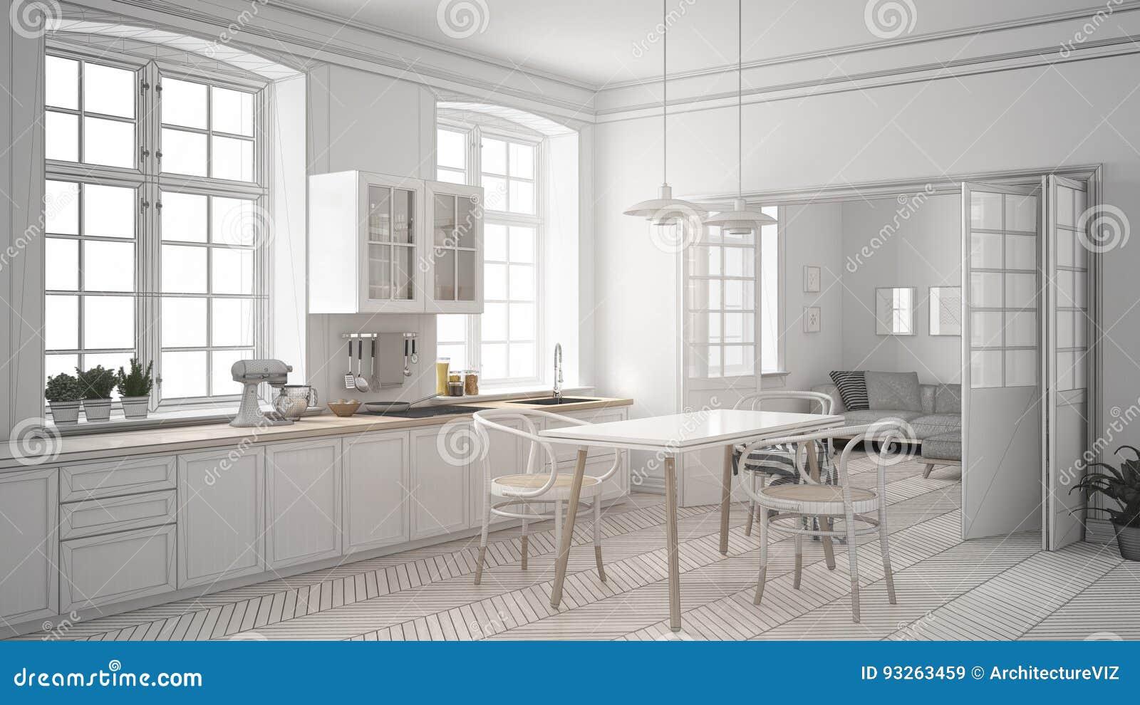 Niedokończony Projekt Minimalistyczna Biała Kuchnia