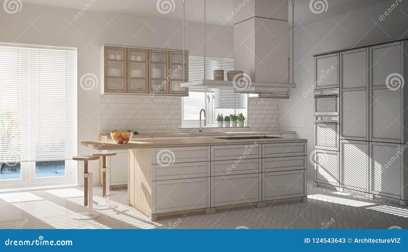 Niedokończony Projekt Nowożytna Drewniana Biała Kuchnia Z I