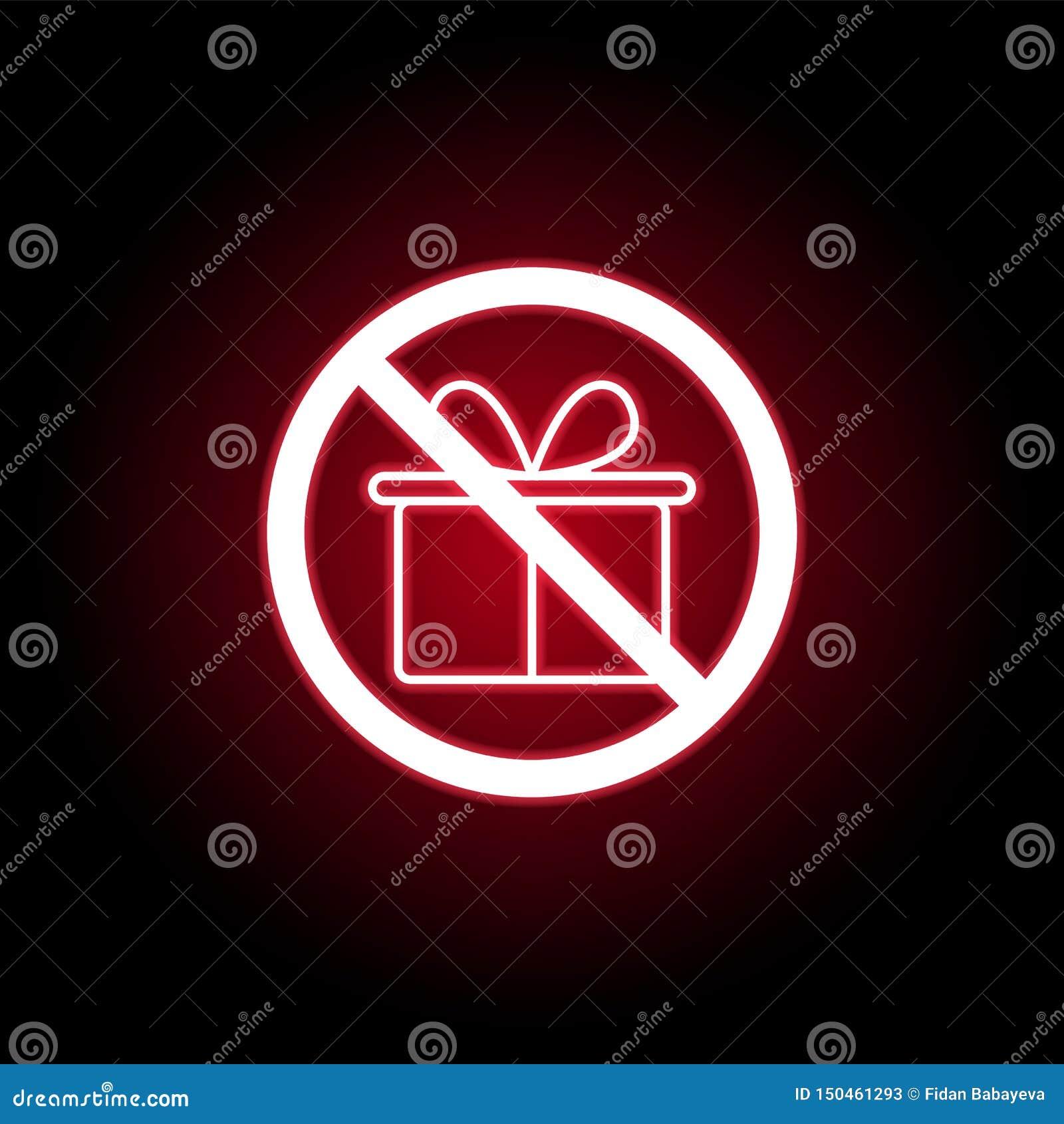Niedozwolona prezent ikona w czerwonym neonowym stylu Mo?e u?ywa? dla sieci, logo, mobilny app, UI, UX