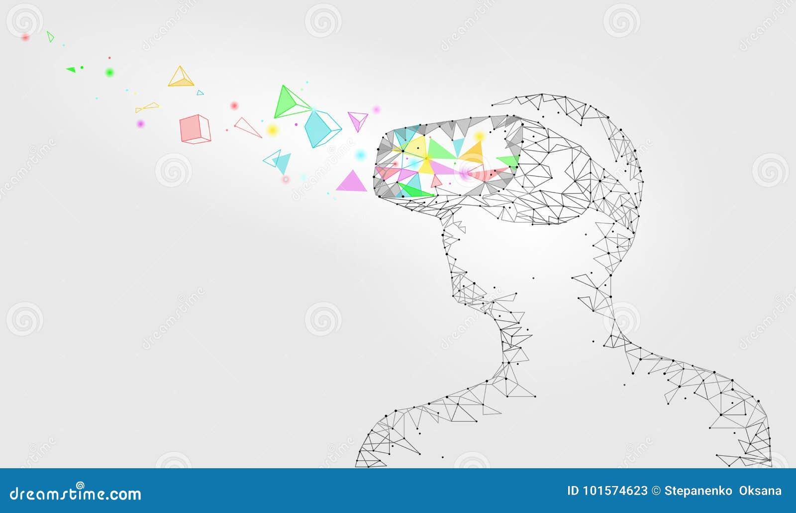 Niedriger Polysturzhelm der virtuellen Realität Zukünftige Innovationstechnologiephantasie Das polygonale angeschlossene Dreieck