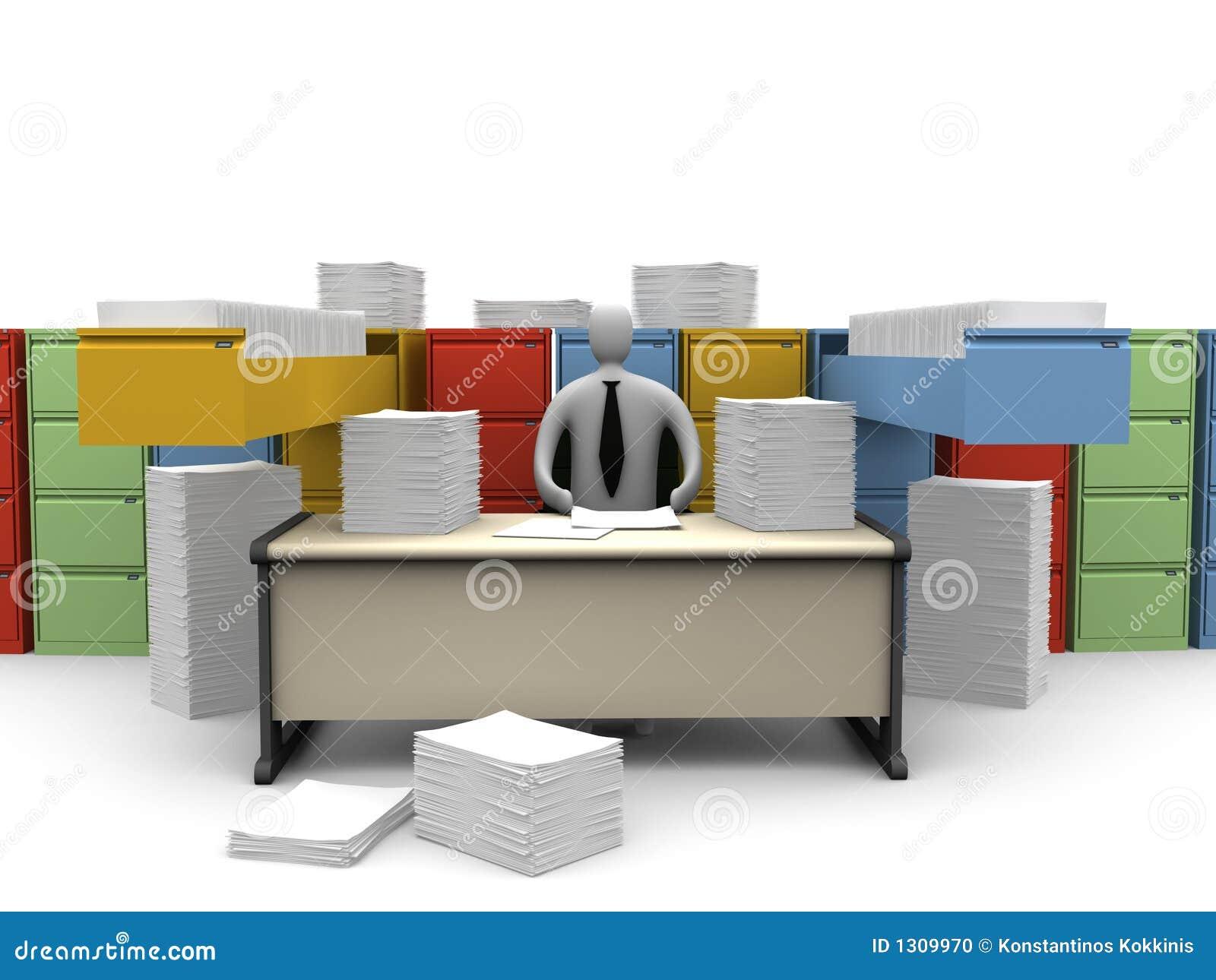 Niekończące się chwilę biura papierkowa robota