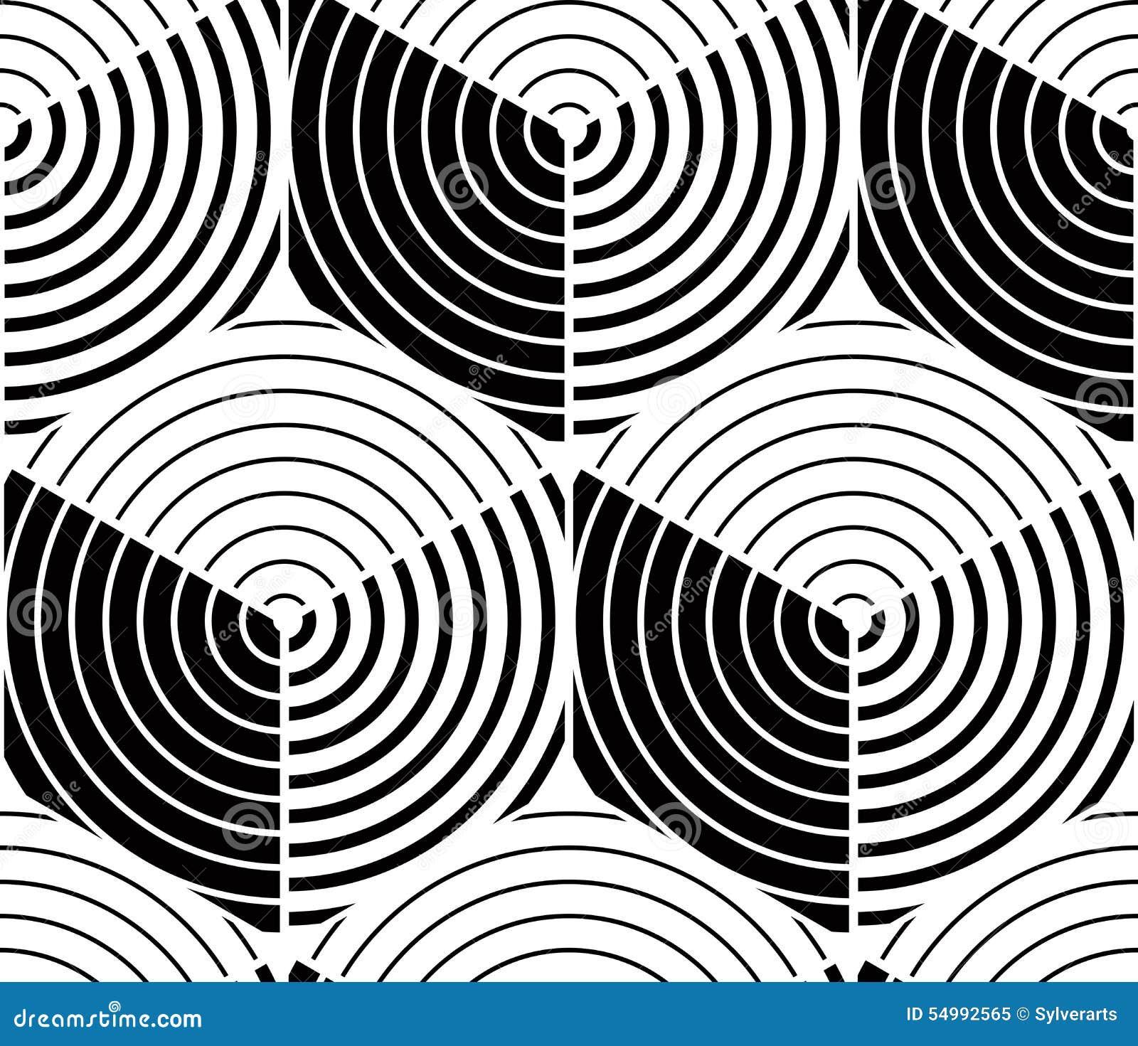 Niekończący się monochromatyczny symmetric wzór, graficzny projekt geometryczny