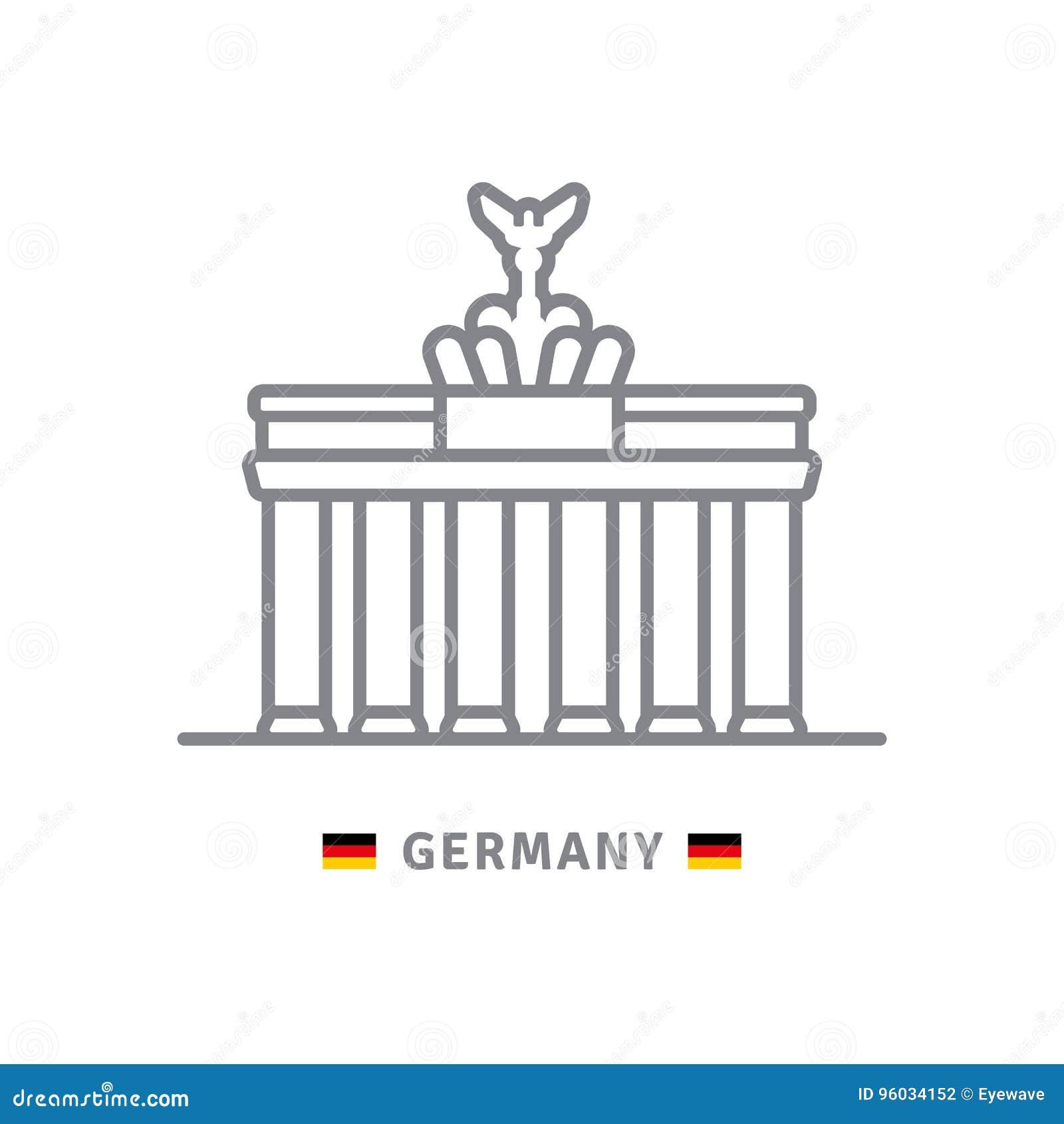 Niemcy ikona z Brandenburg bramą i niemiec zaznaczamy