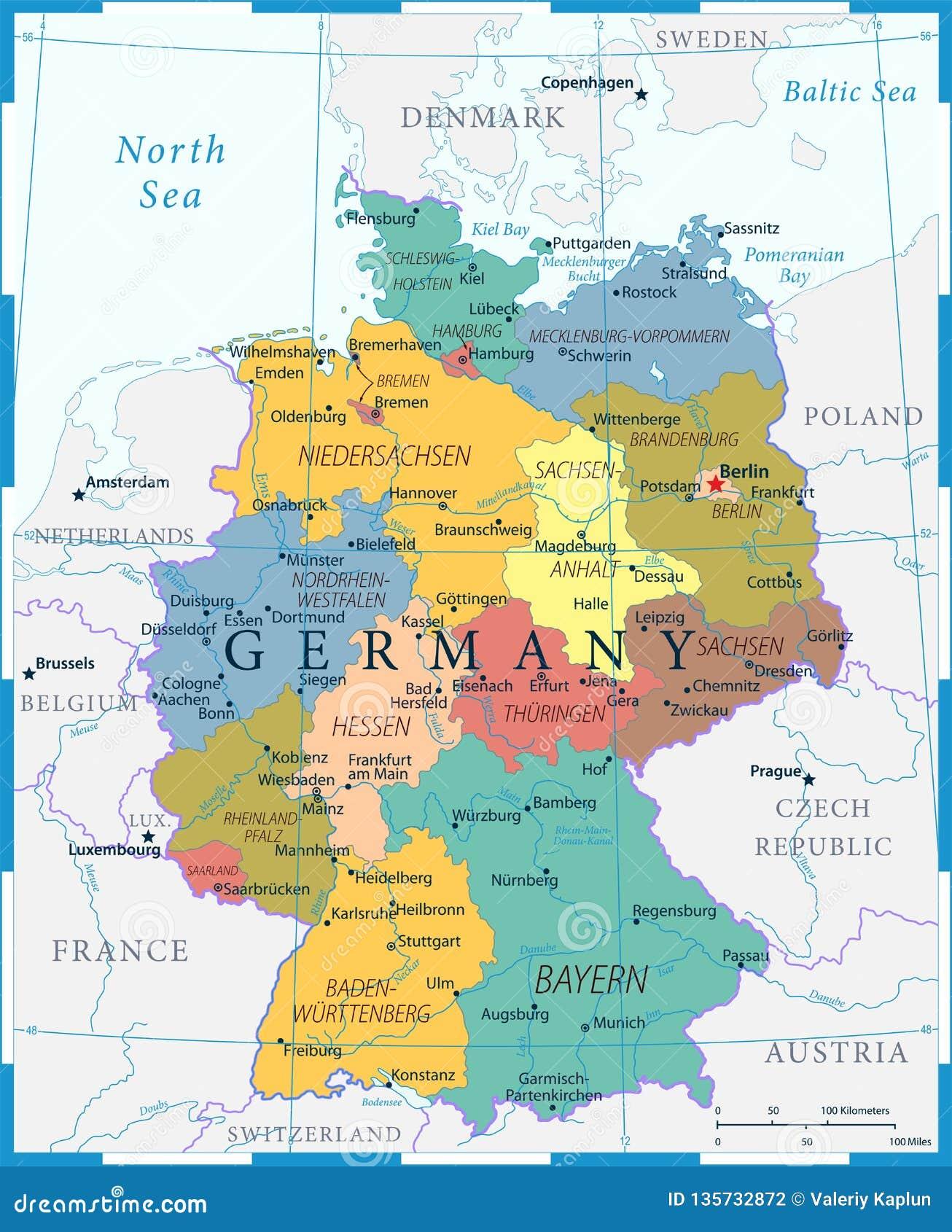 Niemcy Mapa Wysoce Szczegolowa Wektorowa Ilustracja Kolor Siatka