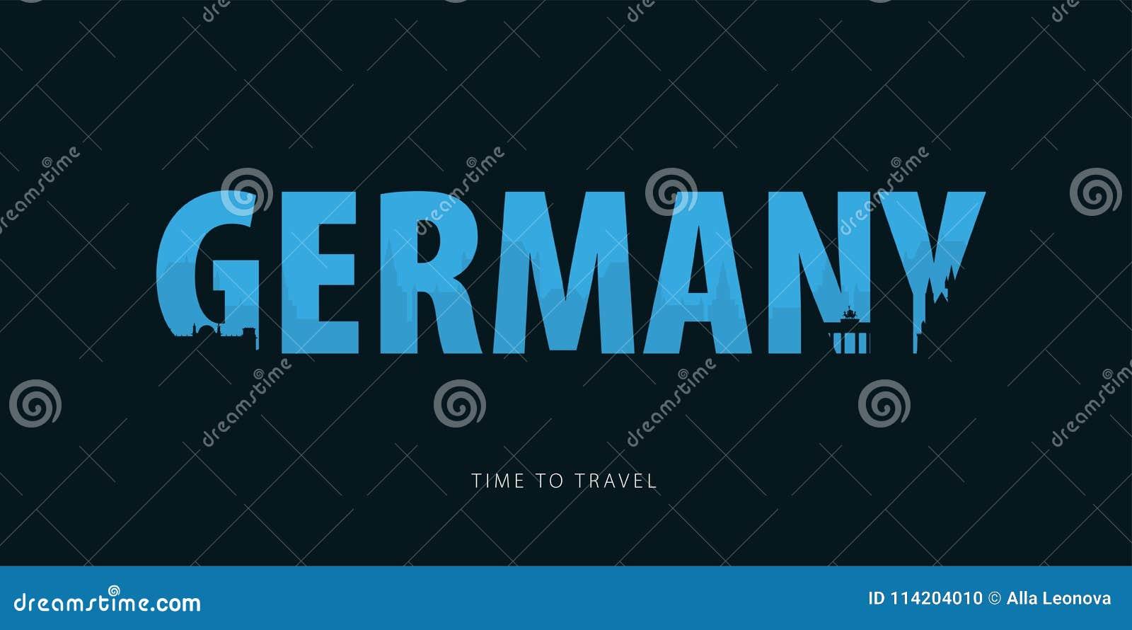 Niemcy Podróży bunner z sylwetkami widoki czas podróży również zwrócić corel ilustracji wektora