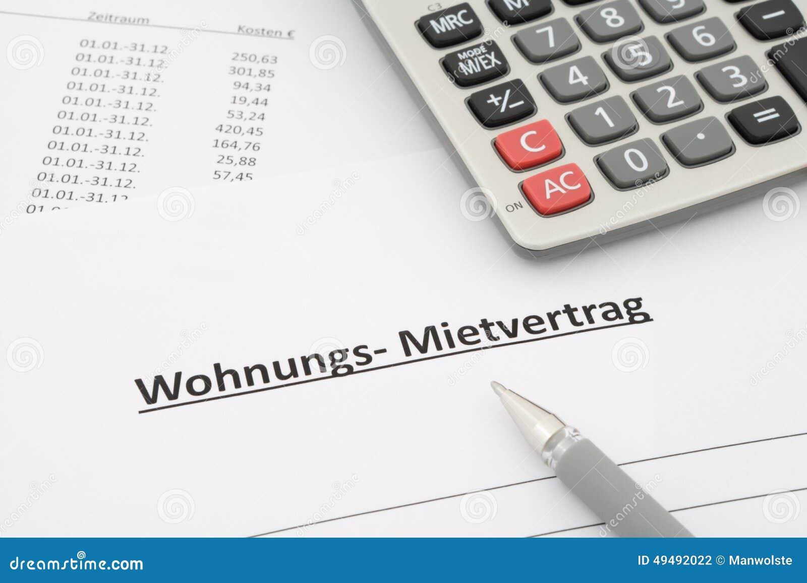 Niemiecka do wynajęcia zgoda w niemiec - Mietvertrag Wohnung -