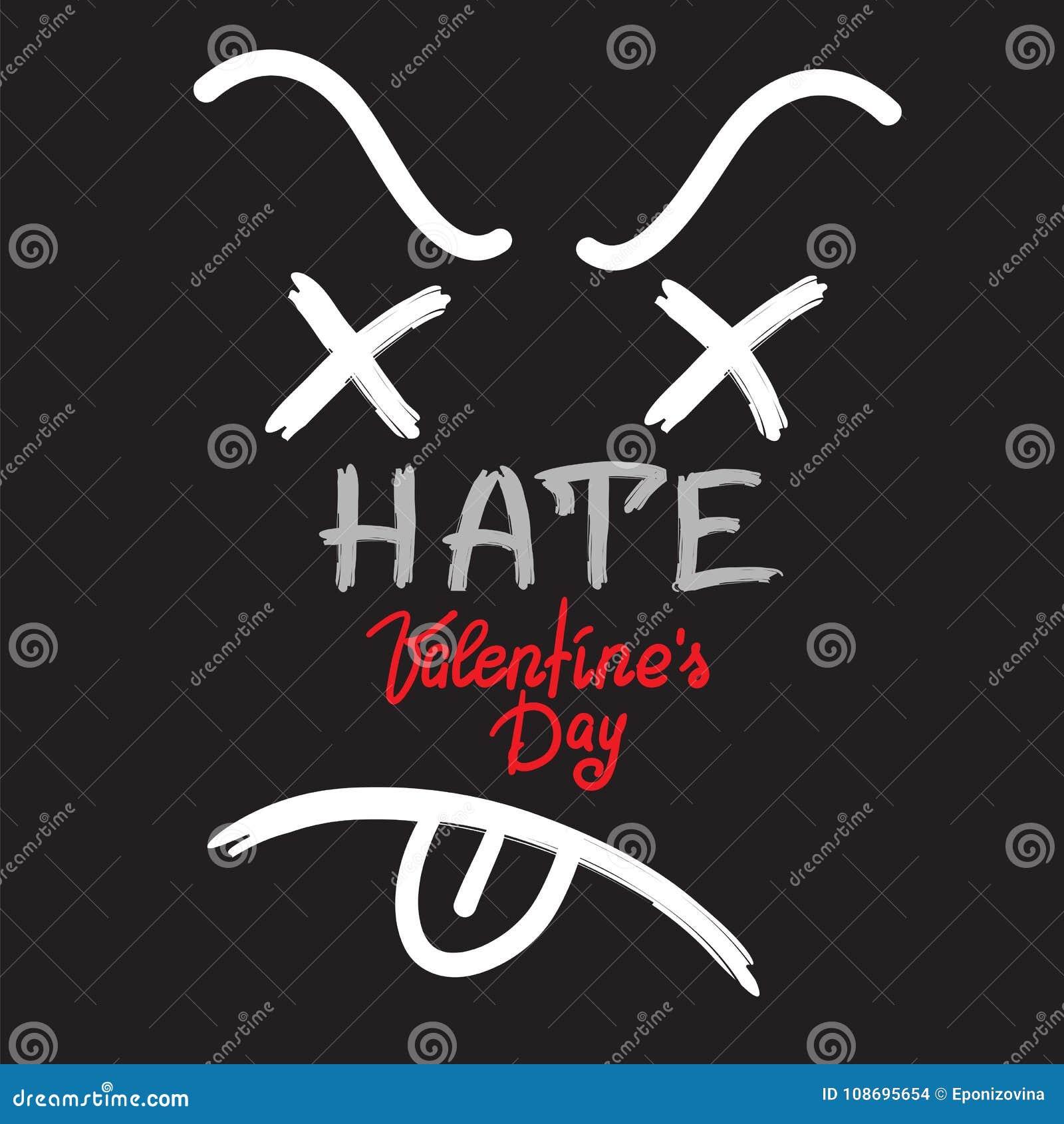 Nienawidzi walentynka dzień - ręcznie pisany karta, gratulacje, czarny humor