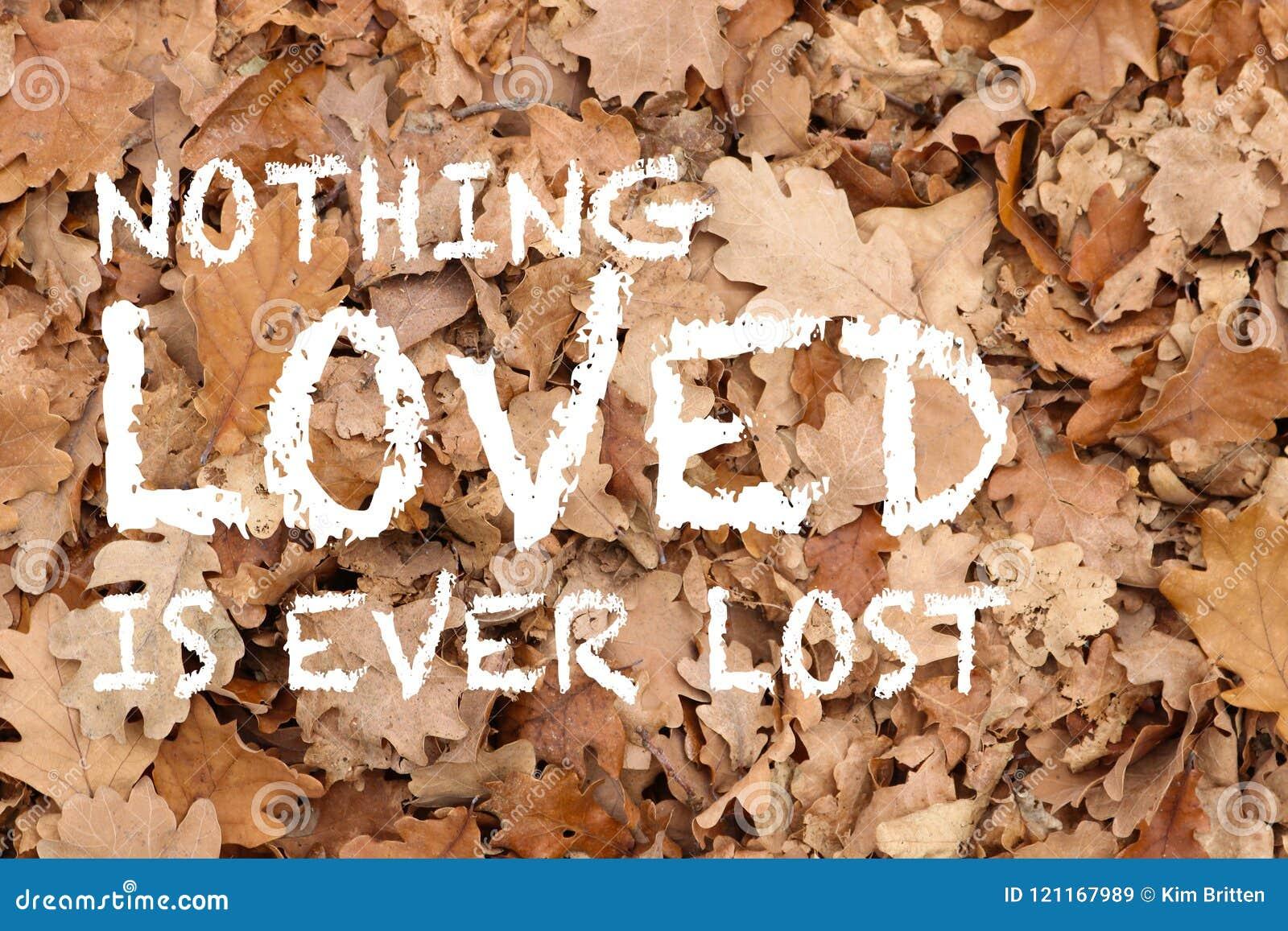 Niente di amato è mai citazione persa sul fondo strutturato foglie della quercia