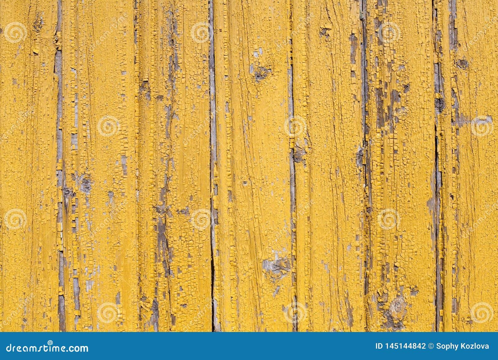 Nieociosany drewniany stary flaked kolor żółty malująca tekstura wyklepany ściana wzór