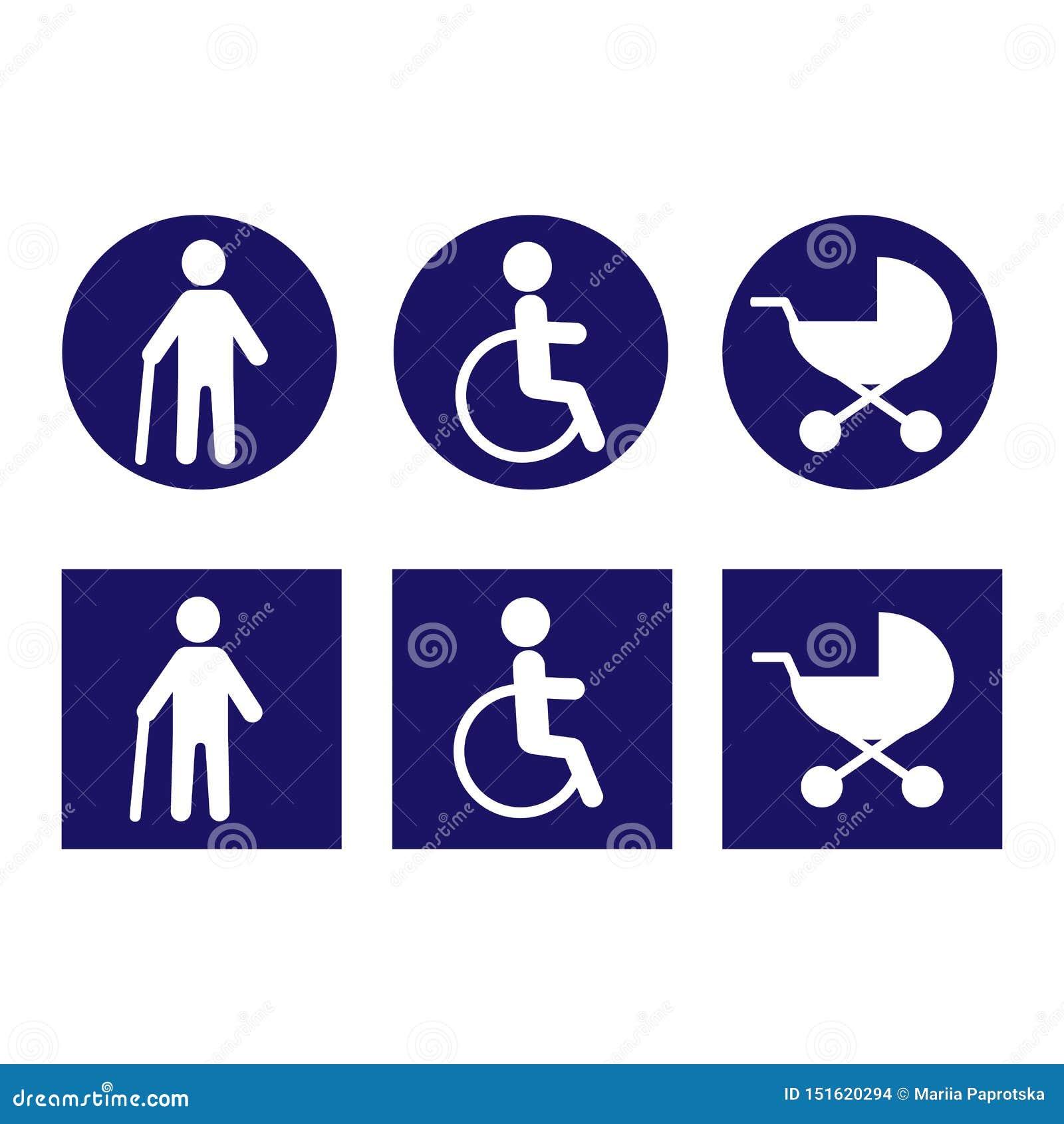 Niepełnosprawne ikony dla projekta wektor Biel w błękitnym begraund