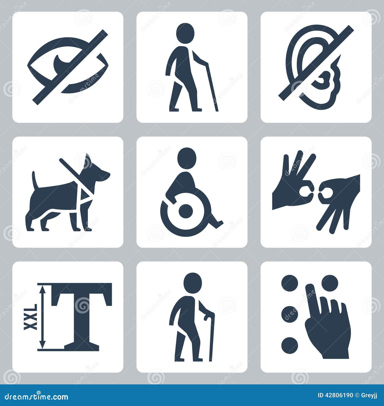 Niepełnosprawne releated wektorowe ikony