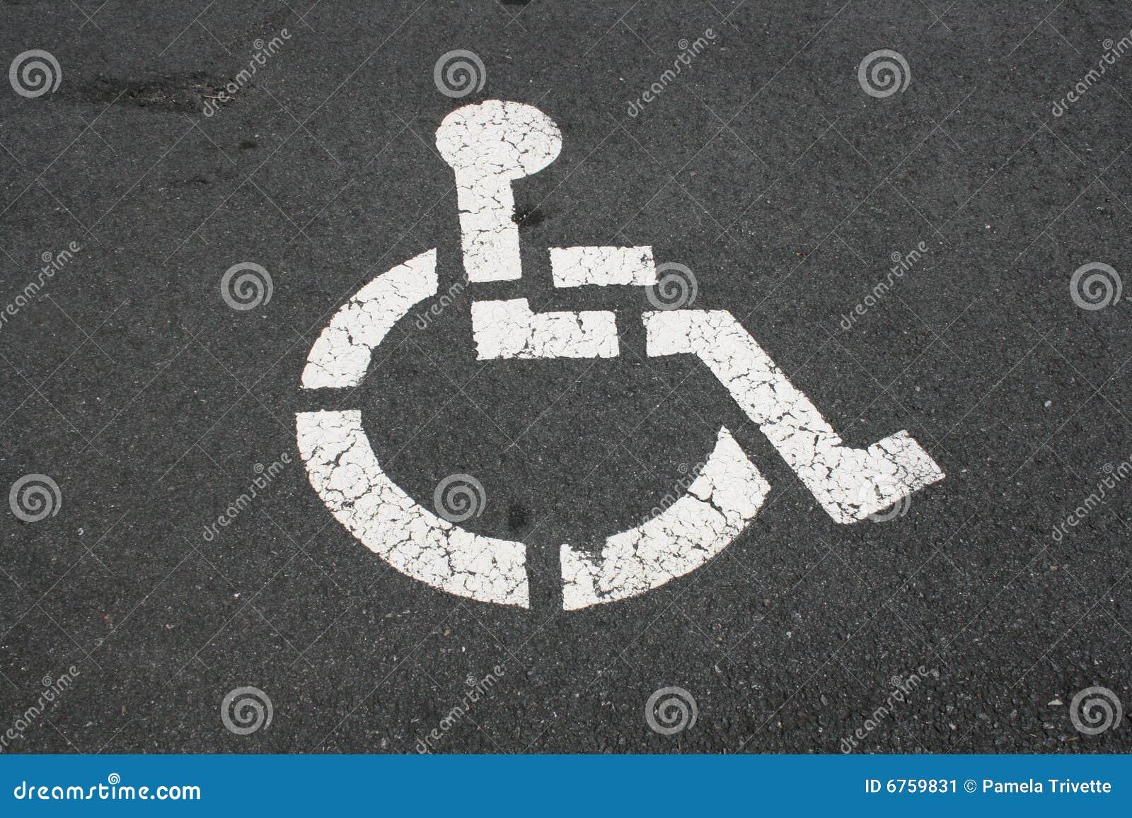 Niepełnosprawny bruku symbolu biel