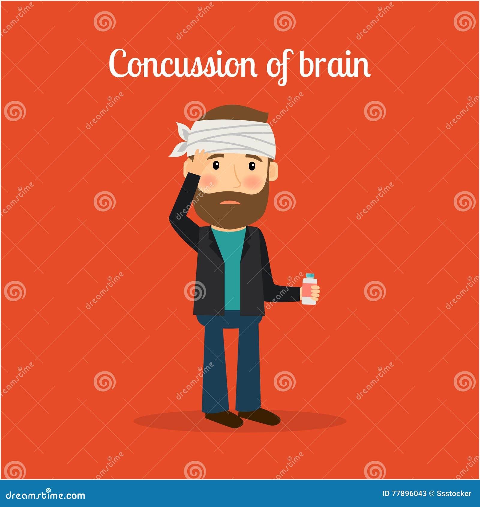 Niepełnosprawny mężczyzna z wstrząsem mózgu mózg