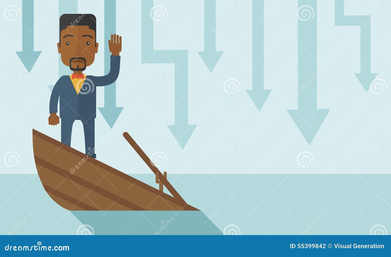 Niepowodzenie biznesmena czarna pozycja na słabnięciu