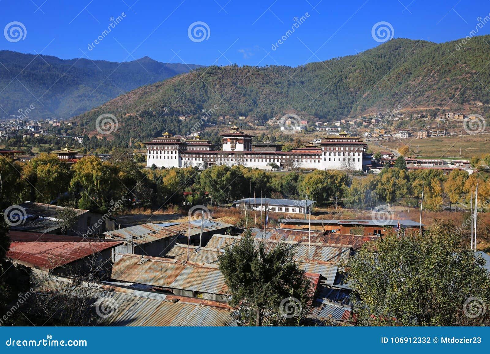 Nieprawdopodobny Thimphu Dzong I krajobraz, Bhutan