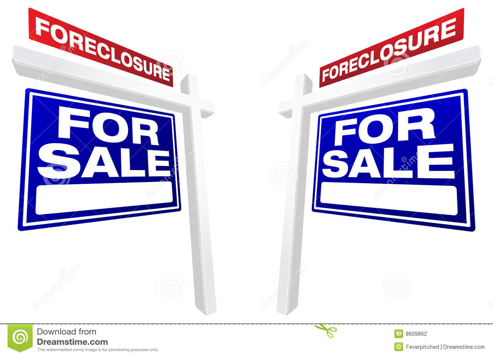Nieruchomości foreclosure pary istni sprzedaży znaki