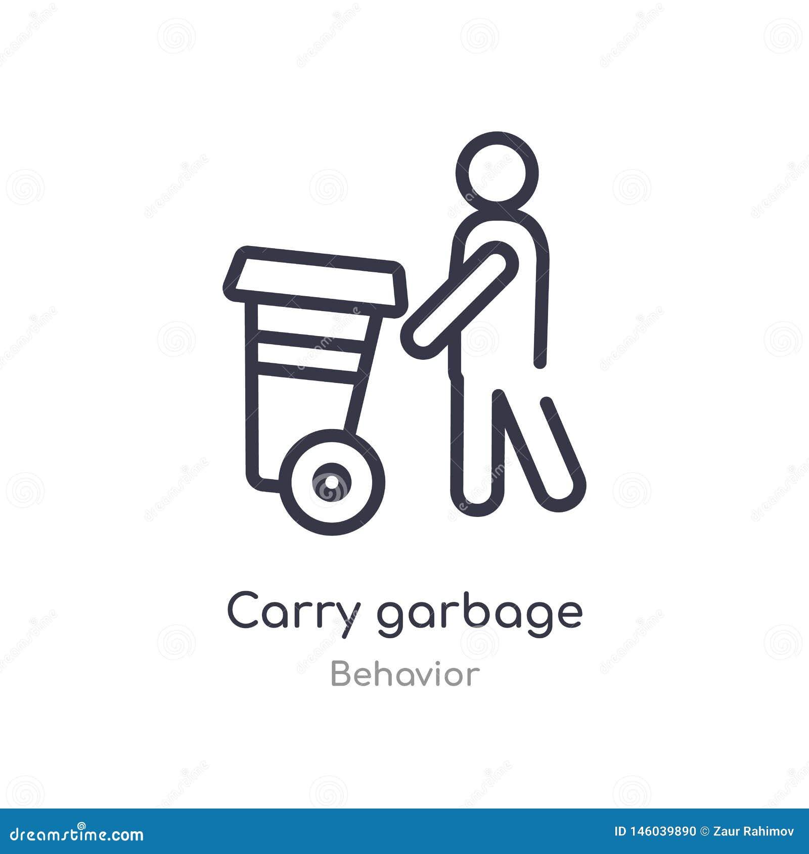 Niesie śmieciarską kontur ikonę odosobniona kreskowa wektorowa ilustracja od zachowanie kolekcji editable cienki uderzenie niesie
