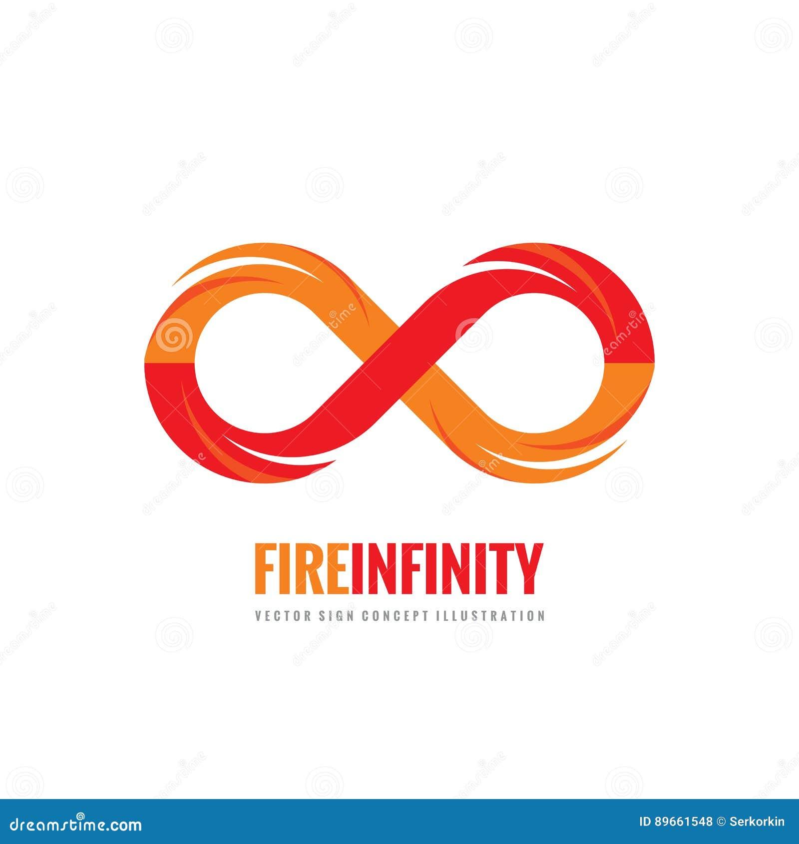 Nieskończoność - wektorowa loga szablonu pojęcia ilustracja w mieszkanie stylu Abstrakta ogienia płomienia kształta kreatywnie zn