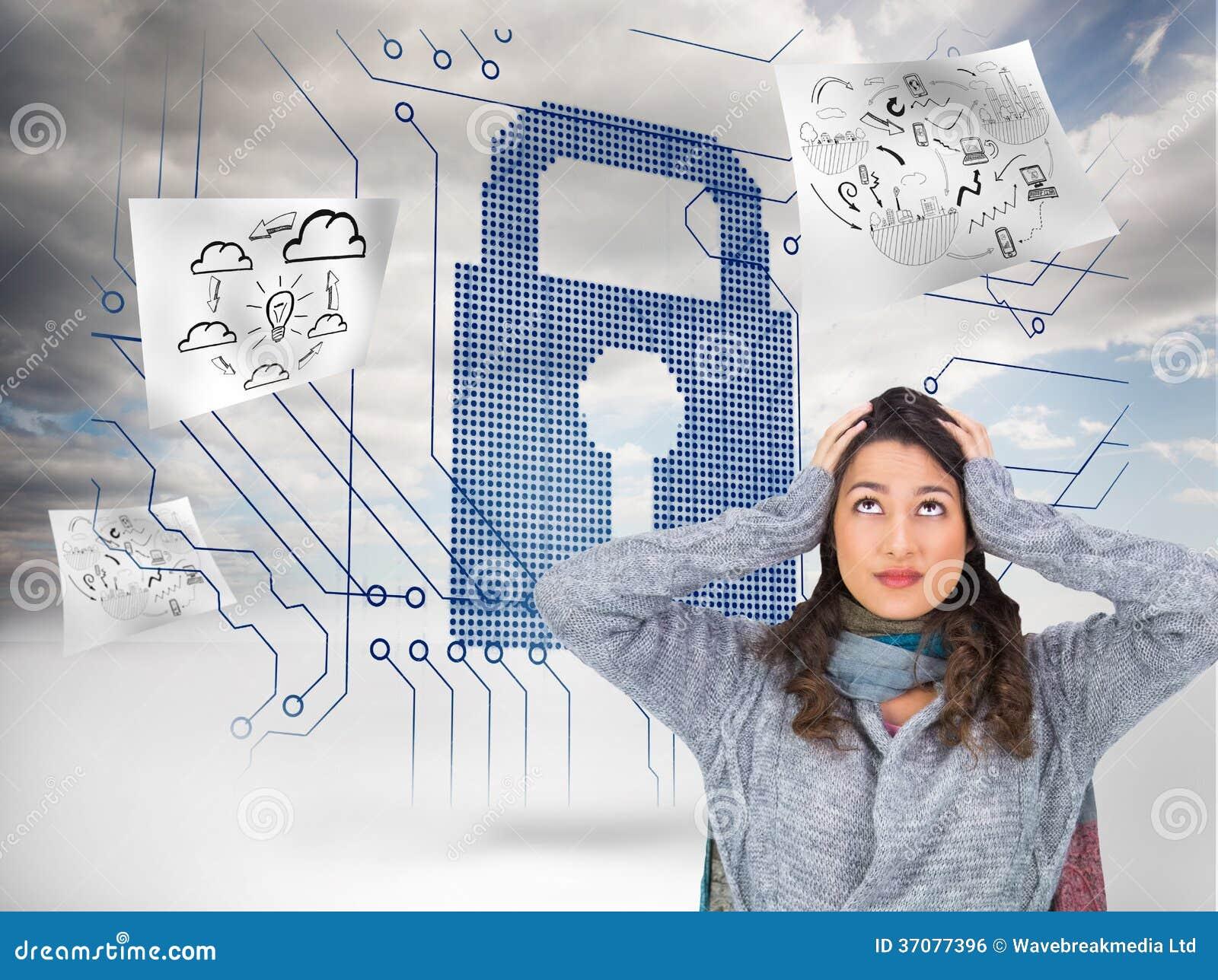 Download Niespokojna ładna Brunetka Jest Ubranym Zimę Odziewa Pozować Ilustracji - Ilustracja złożonej z niebo, kobiety: 37077396
