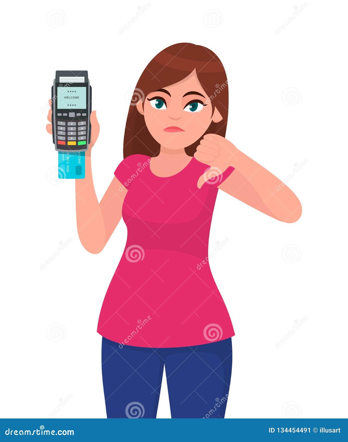 Nieszczęśliwy młoda kobieta seans, trzymać/pos płatniczy śmiertelnie, kredytowy lub karto debetowa swiping maszynę/, gestykuluje