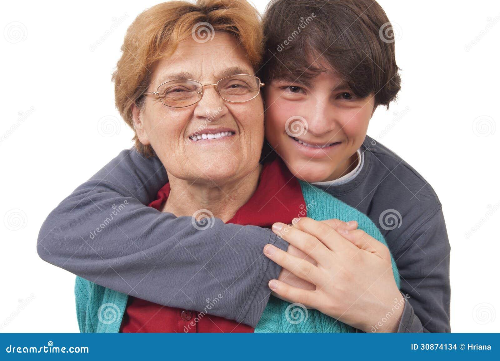 Abuela y compartimiento adolescente