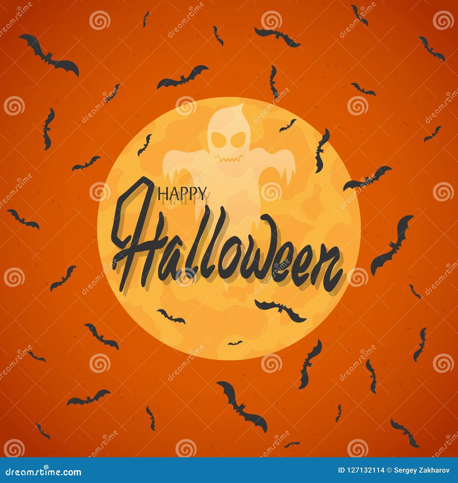 Nietoperze latają przeciw księżyc w pełni Na pomarańczowym tle Duch i inskrypcja halloween