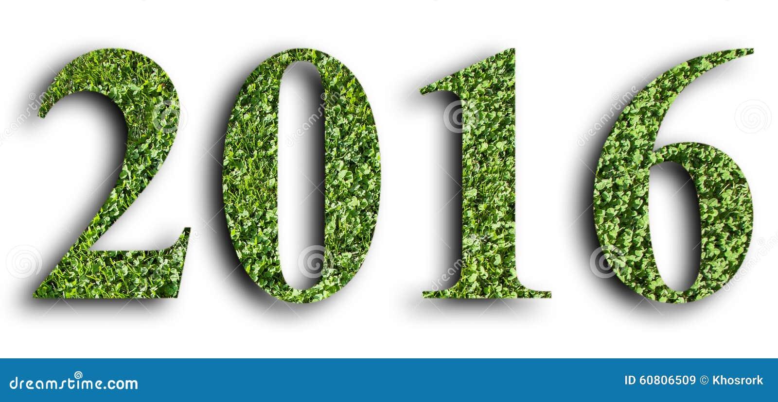 2016, Nieuw die jaar van het groene die gras wordt gemaakt, op witte achtergrond wordt geïsoleerd