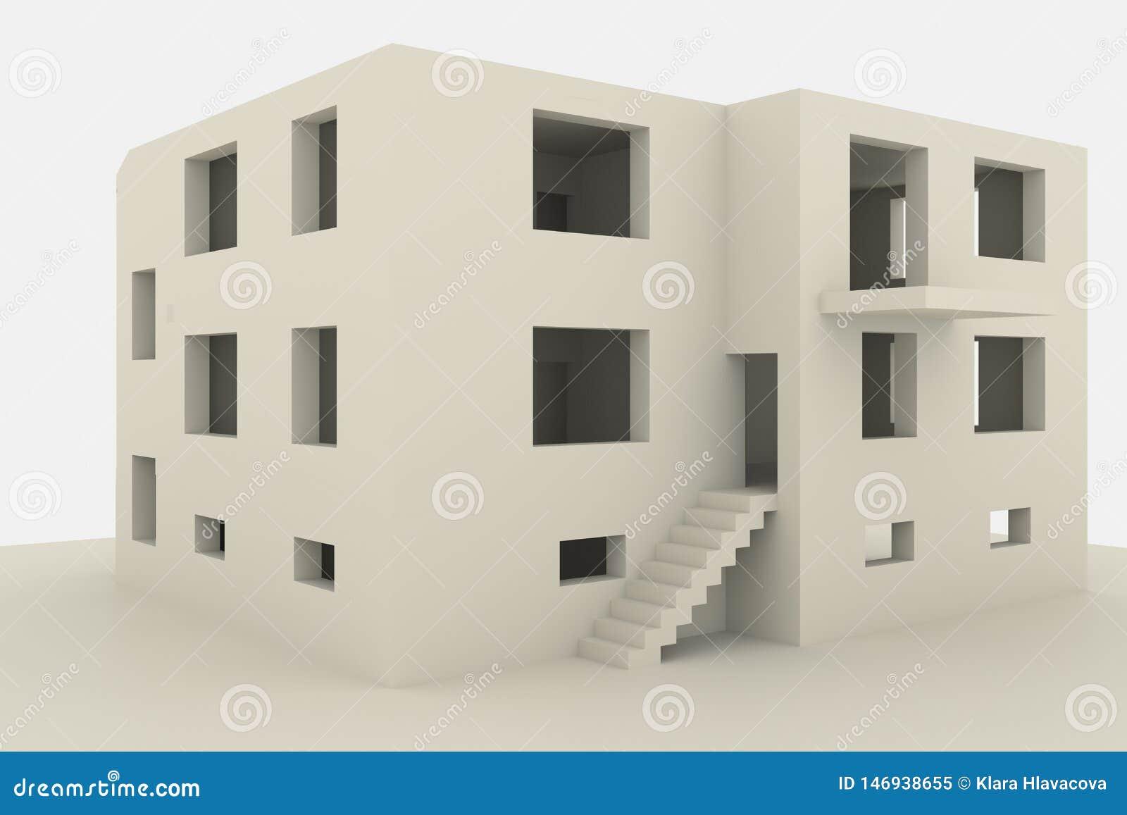 Nieuw familiehuis met meerdere verdiepingen op witte achtergrond
