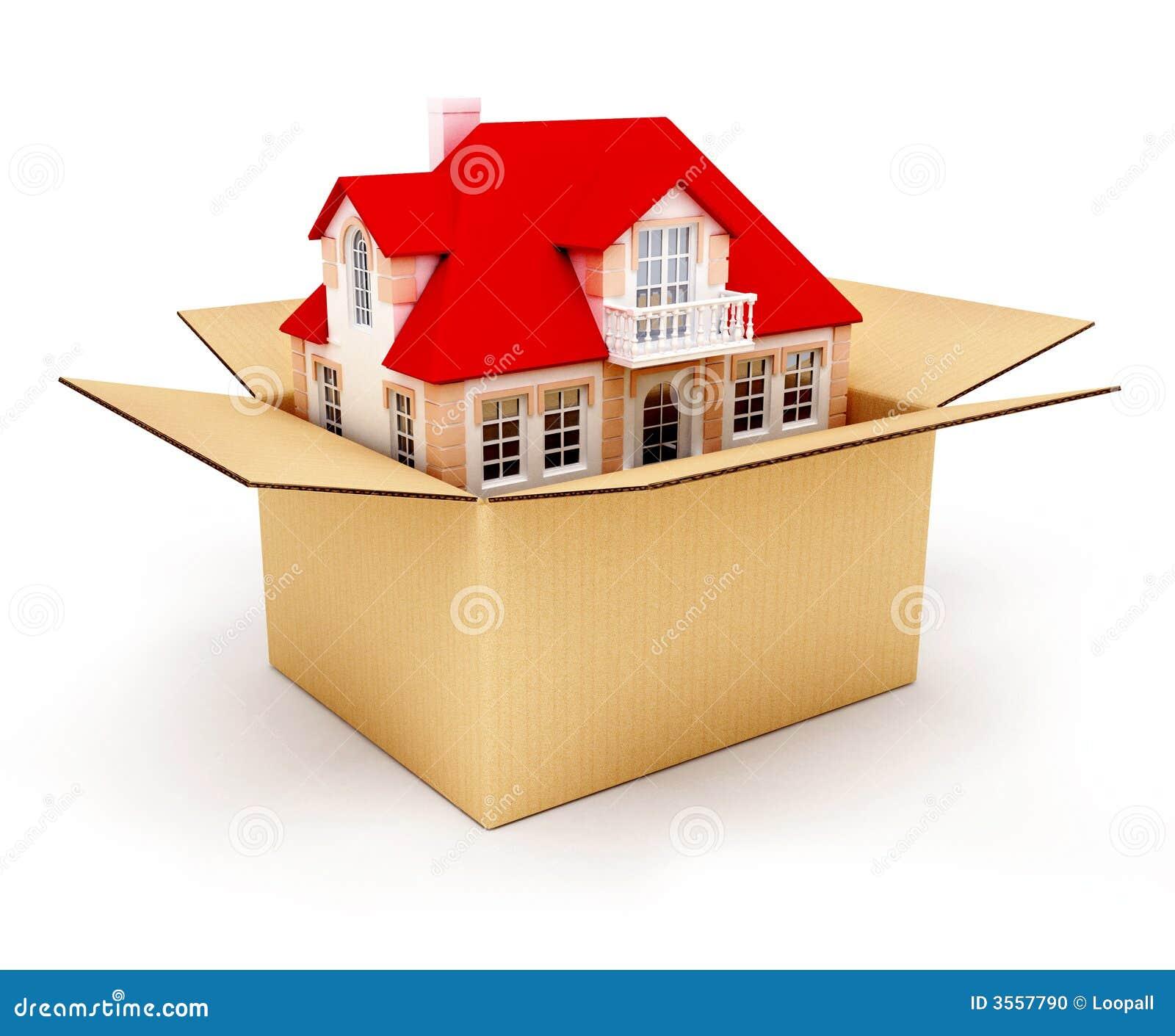 Nieuw huis in doos stock foto afbeelding 3557790 - Nieuw huis binneninrichting ...