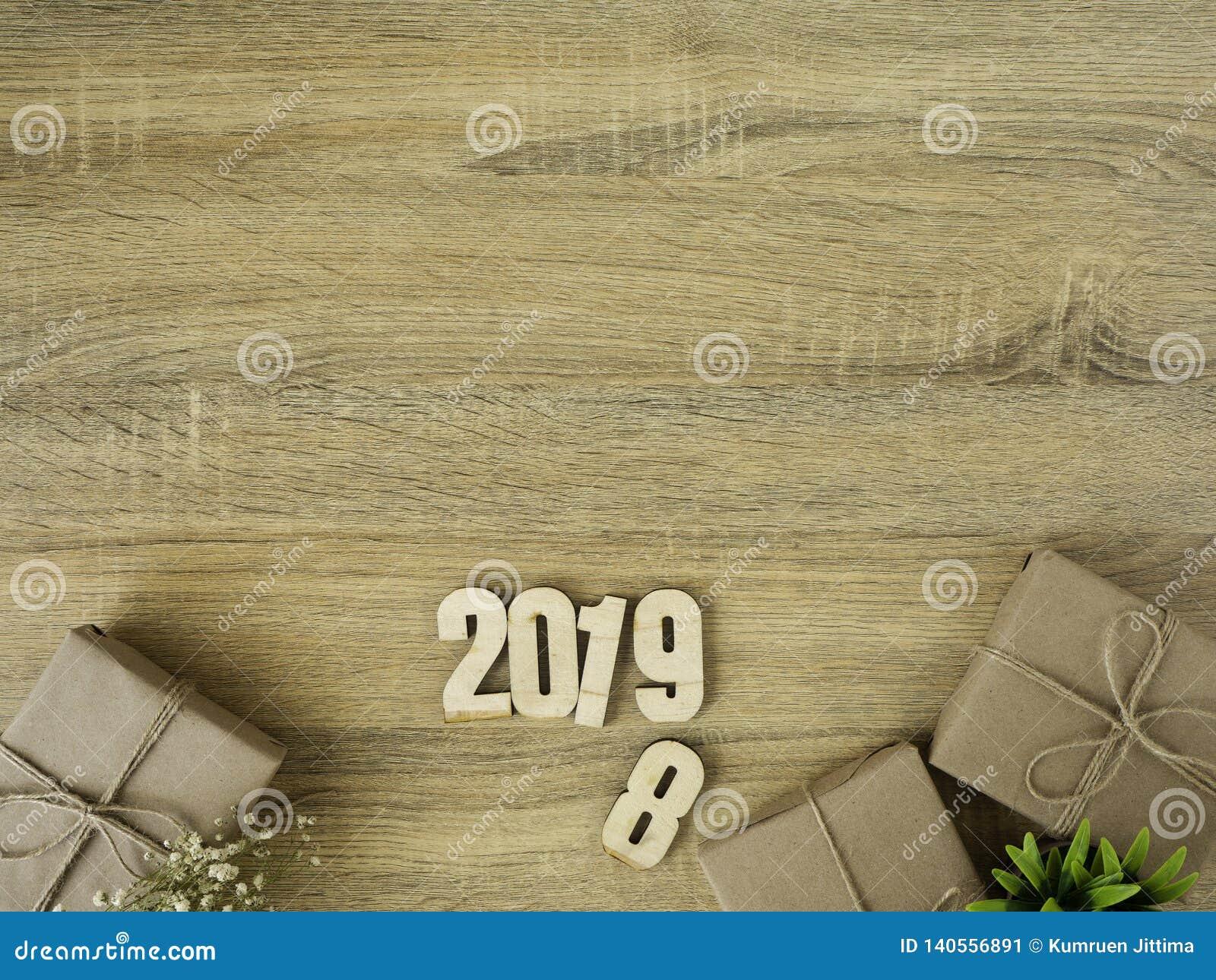 Nieuw jaar 2019 de grensontwerp van Giftdozen