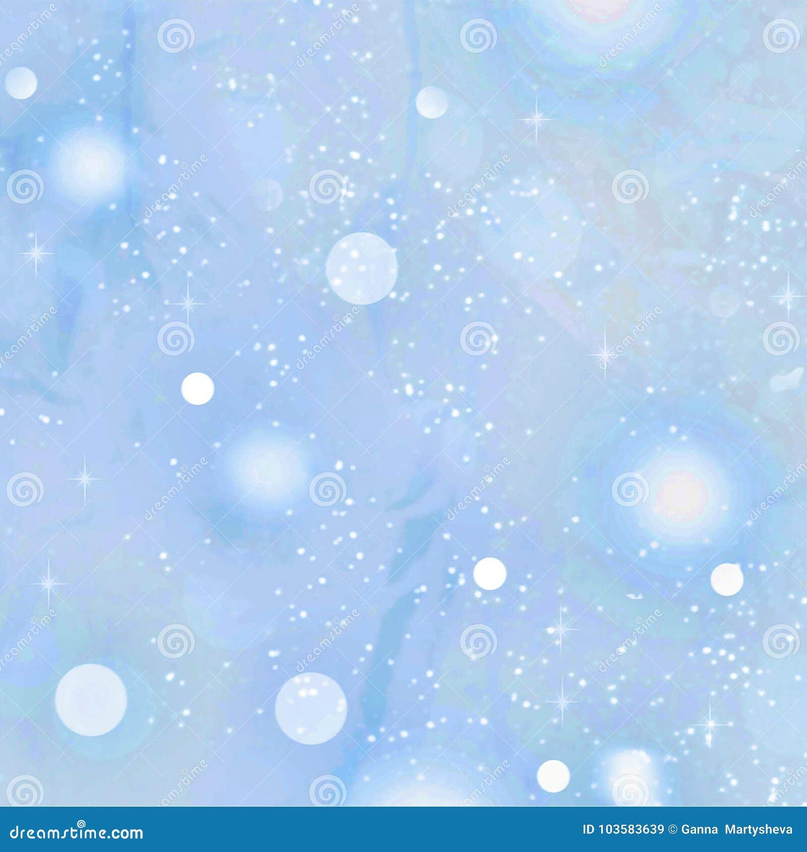 Nieuw jaar Kerstmis Zachte blauwe achtergrond met dalende sneeuw