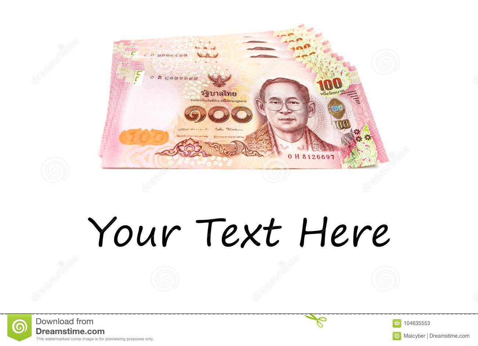 Download Nieuw Thais Die Rekenings Honderd Baht Van 2017 Op Witte Achtergrond Wordt Geïsoleerd Stock Afbeelding - Afbeelding bestaande uit honderd, thais: 104635553