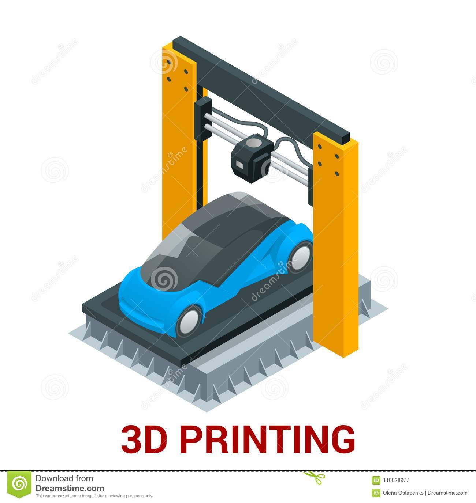 Nieuwe generatie van 3D de drukauto van de Drukmachine Vector isometrische illustratie