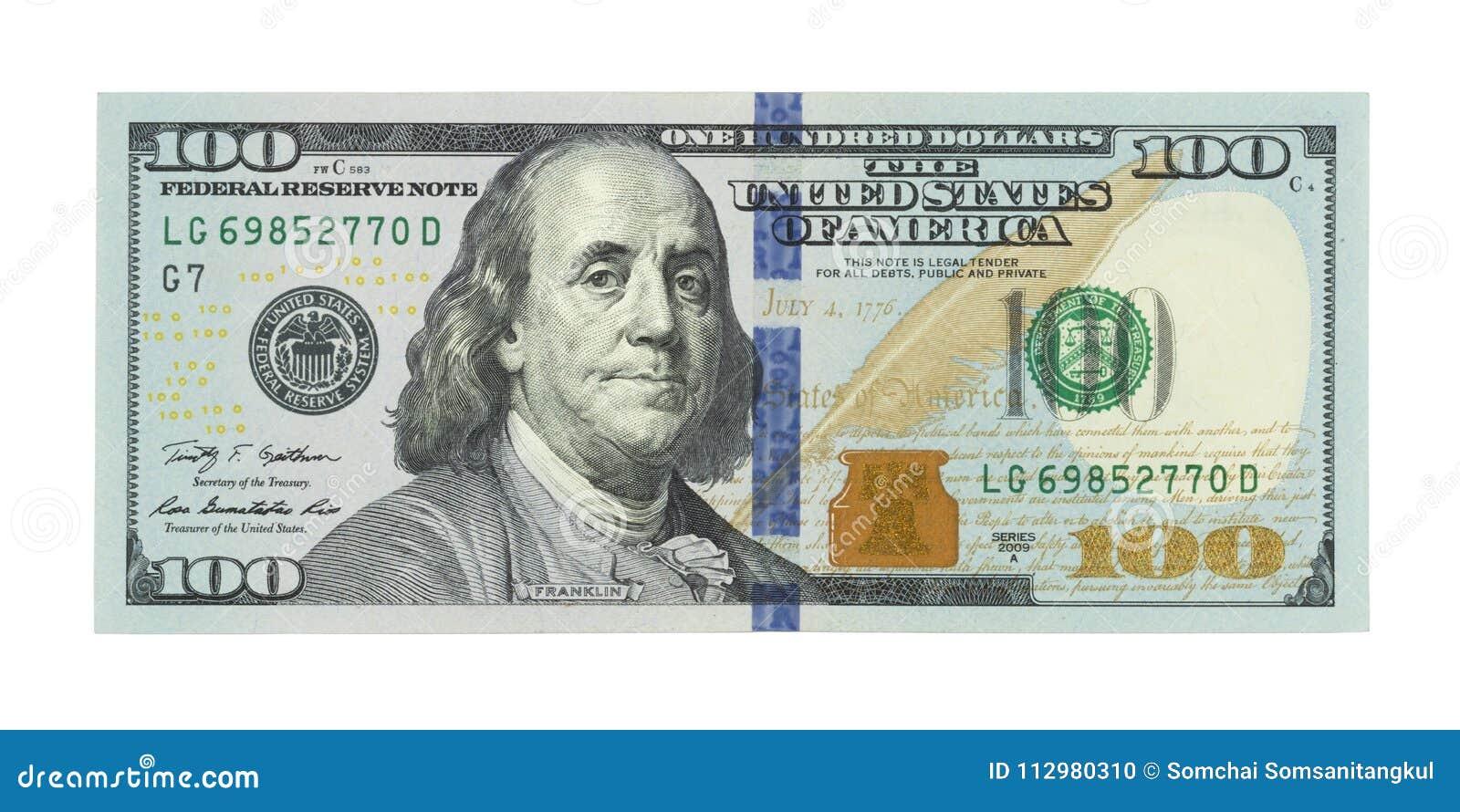 Nieuwe honderd Amerikaanse dollars rekenings, 100 bokken, Amerikaanse dollar 100