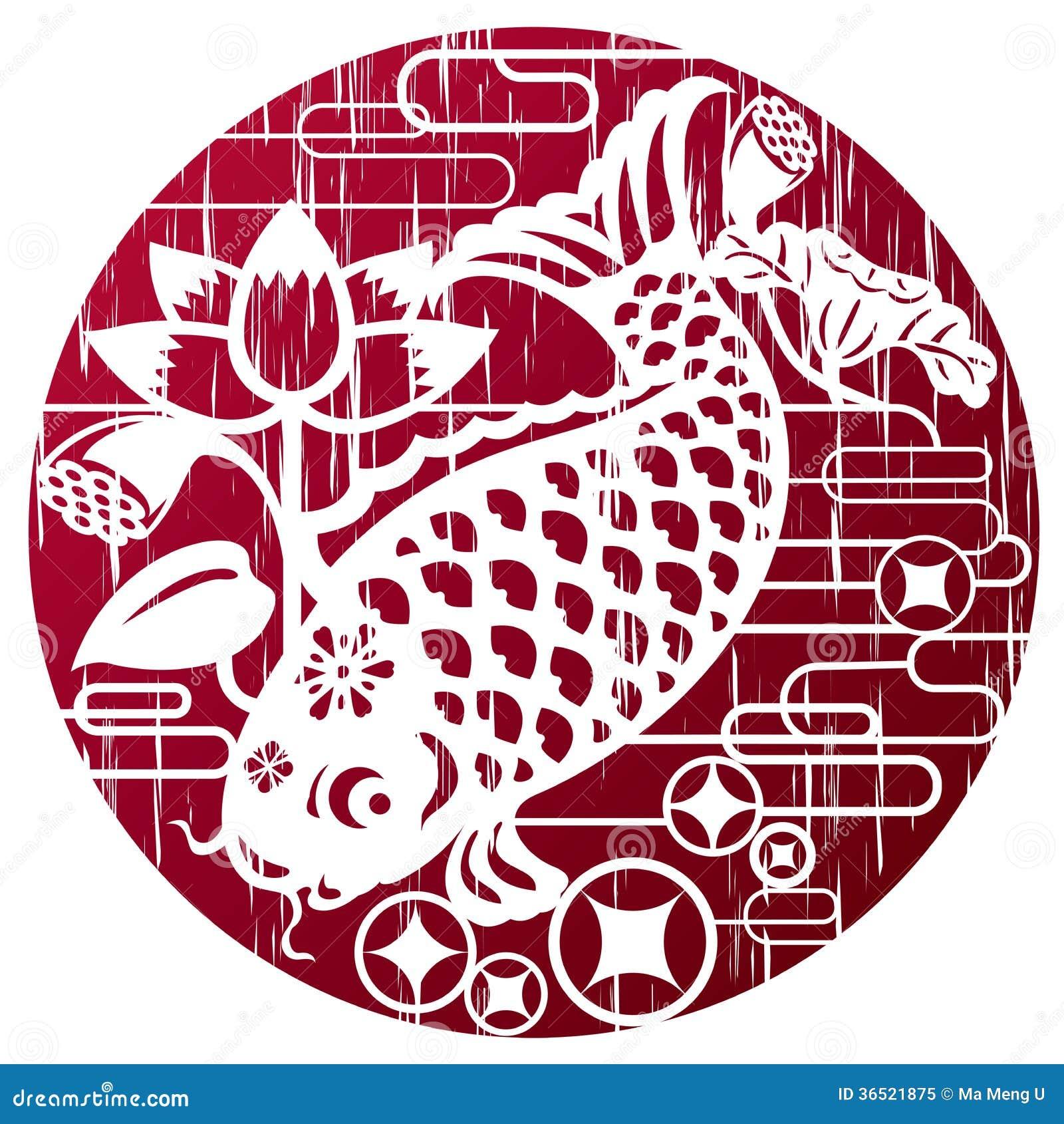 Nieuwe jaarvissen in grungestijl voor het vieren CNY