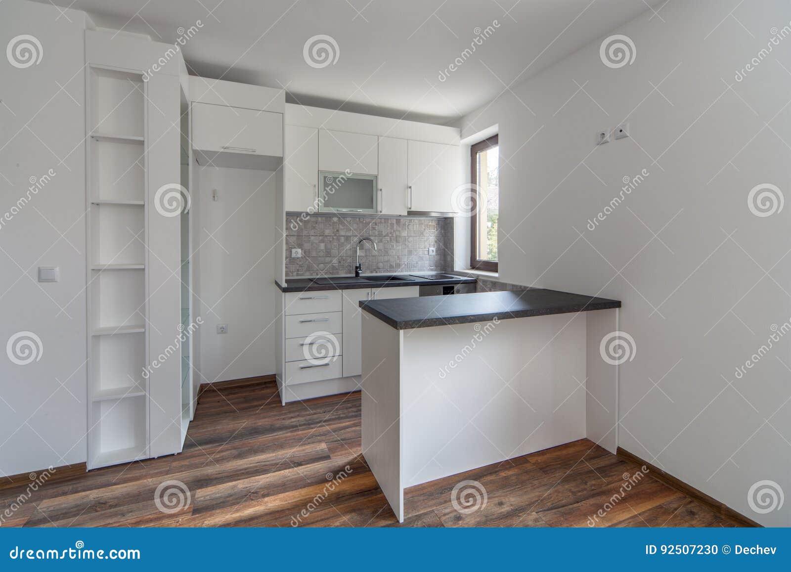 Nieuwe Houten Vloer : Nieuwe moderne en lege witte keuken nieuw huis binnenlandse