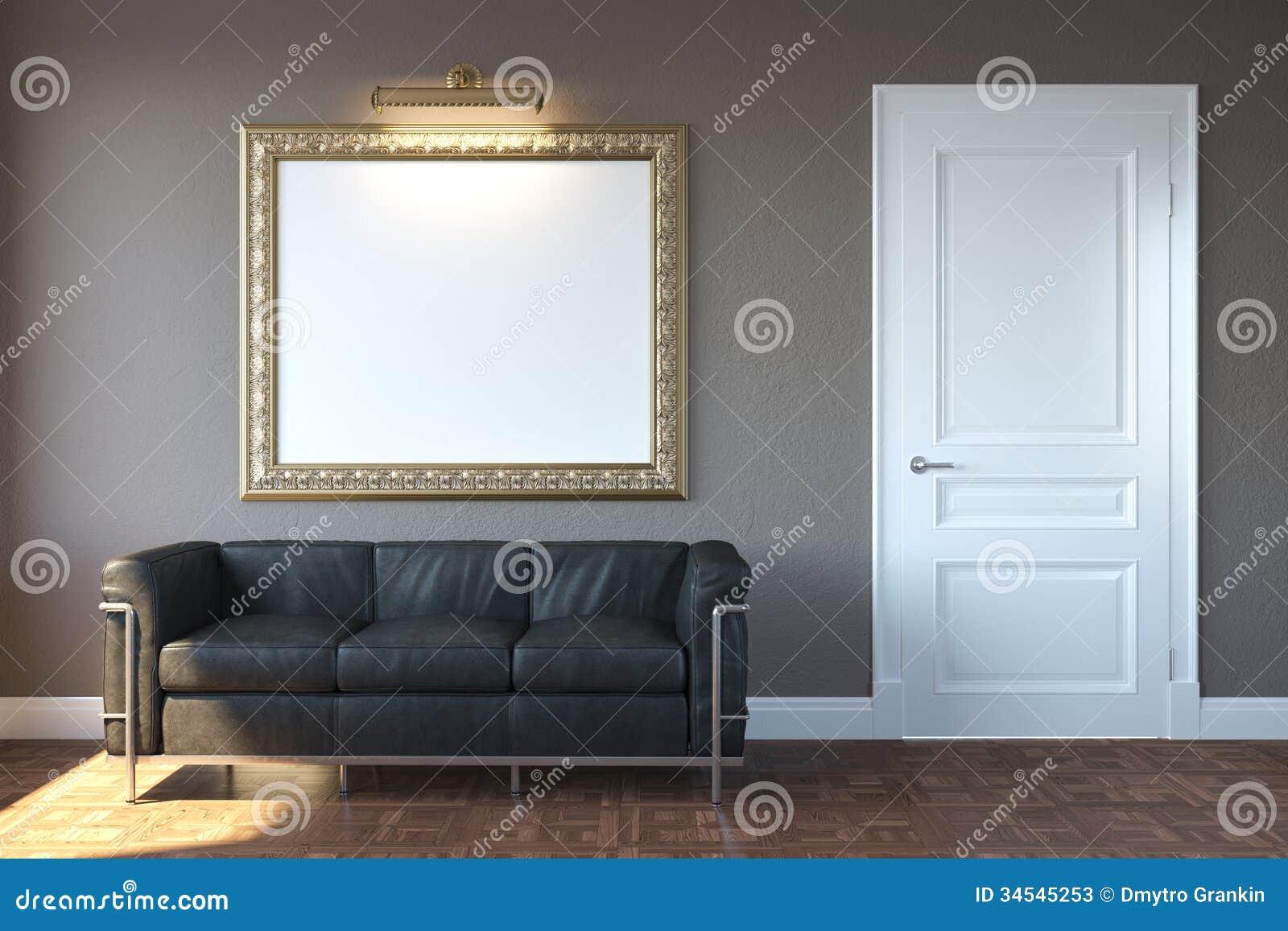 Nieuwe moderne woonkamer met sofa and frame stock foto 39 s afbeelding 34545253 - Fotos van moderne woonkamer ...