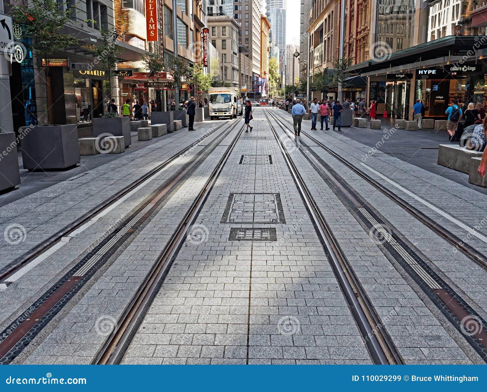 Nieuwe Tramsporen, George Street, Sydney, Australië