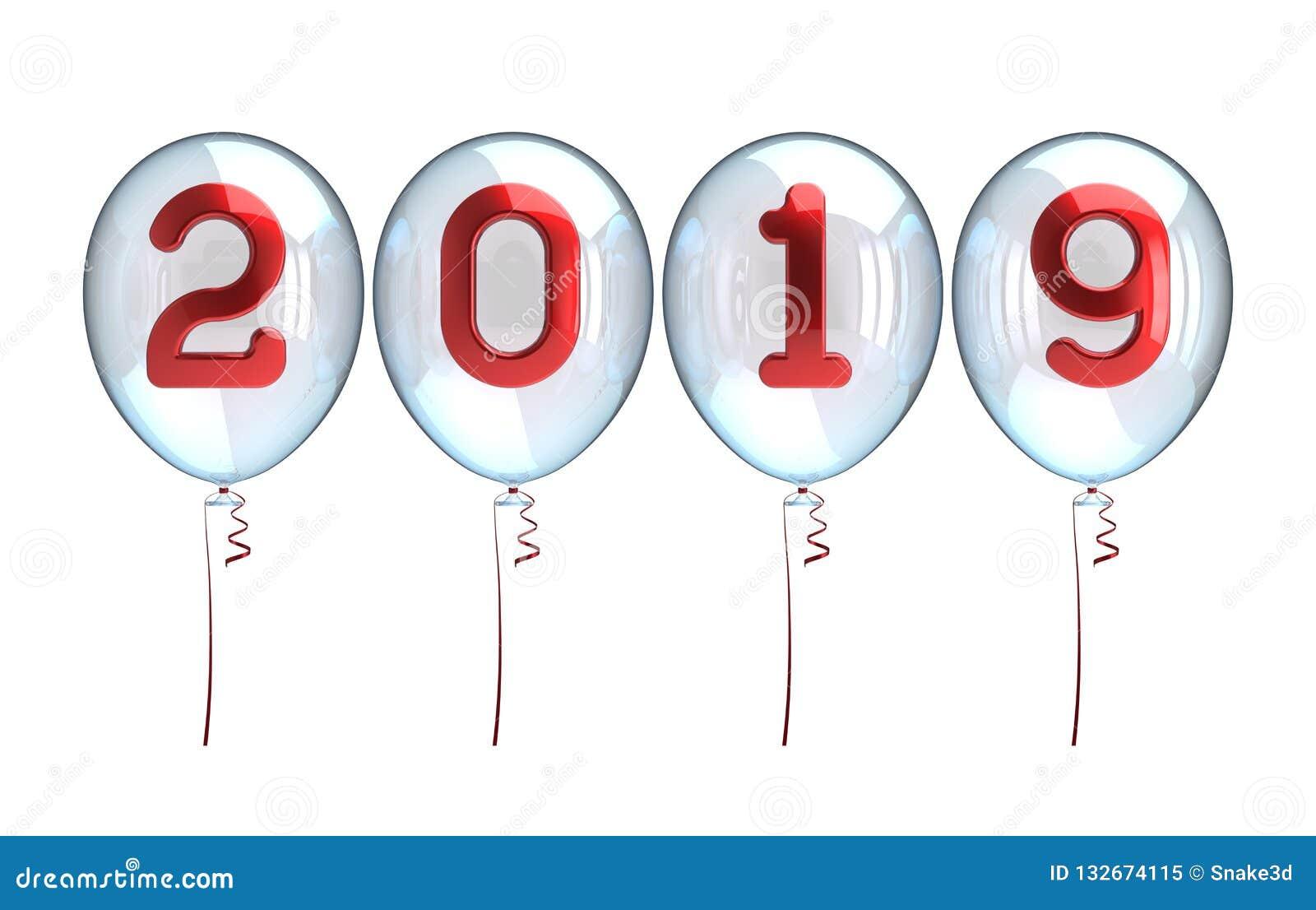 Nieuwjaar 2019 ballons witte doorzichtige glanzende rode aantallen