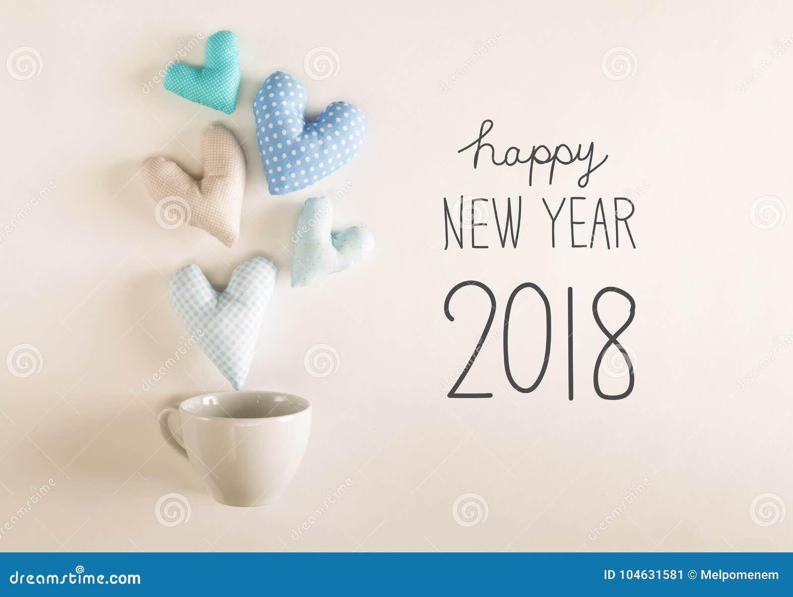 Download Nieuwjaar 2018 Bericht Met Blauwe Hartkussens Stock Afbeelding - Afbeelding bestaande uit winter, handmade: 104631581
