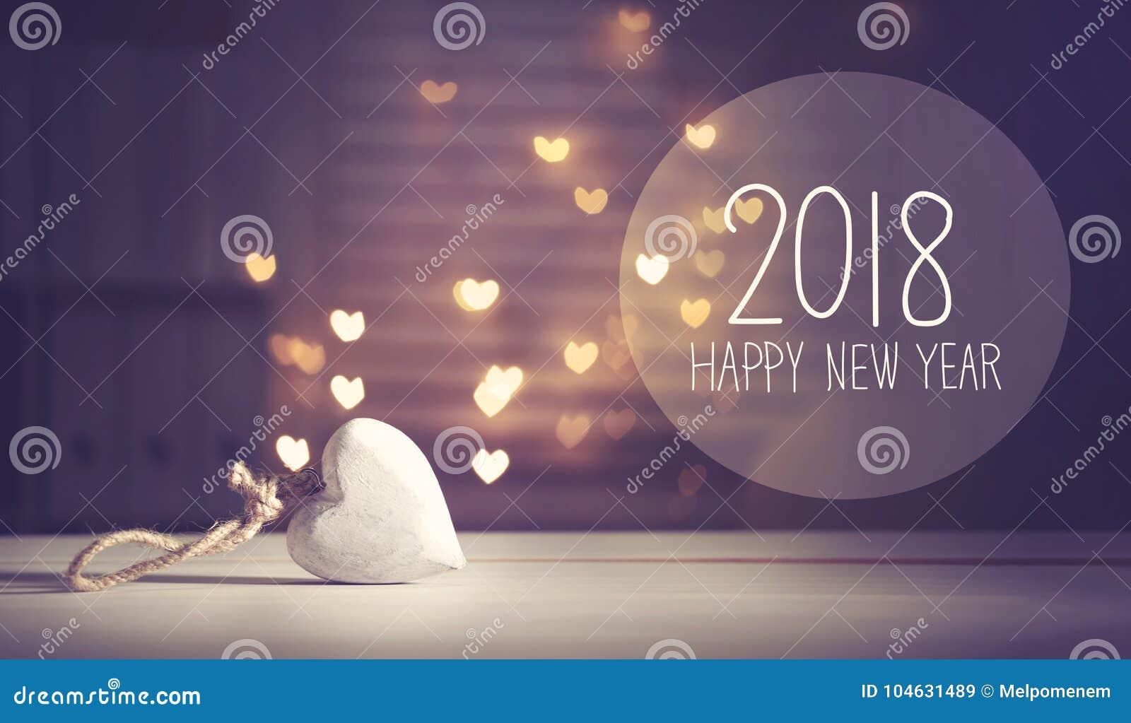 Download Nieuwjaar 2018 Bericht Met Een Wit Hart Stock Afbeelding - Afbeelding bestaande uit kaart, binnen: 104631489