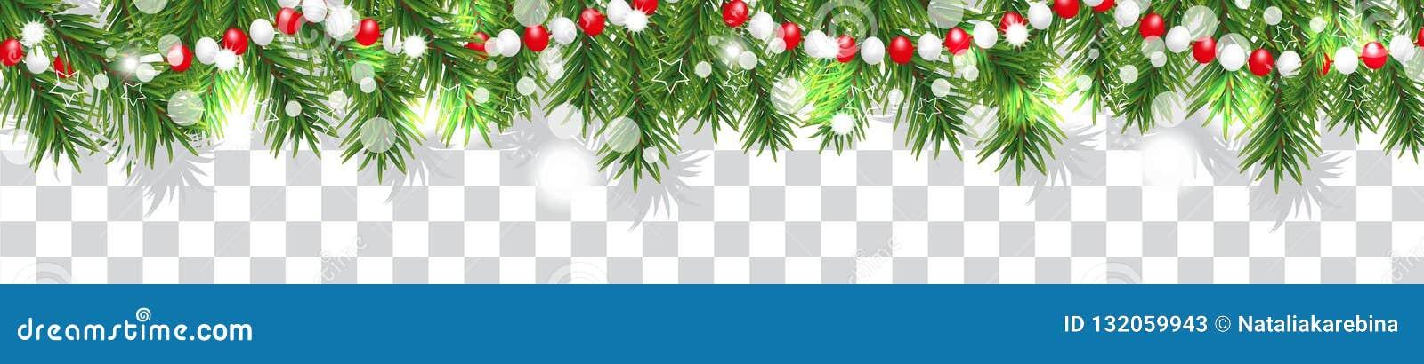 Nieuwjaar en Kerstmis de grensslinger van Kerstboom vertakt zich en parelt op transparante achtergrond Vakantiedecoratie Vector