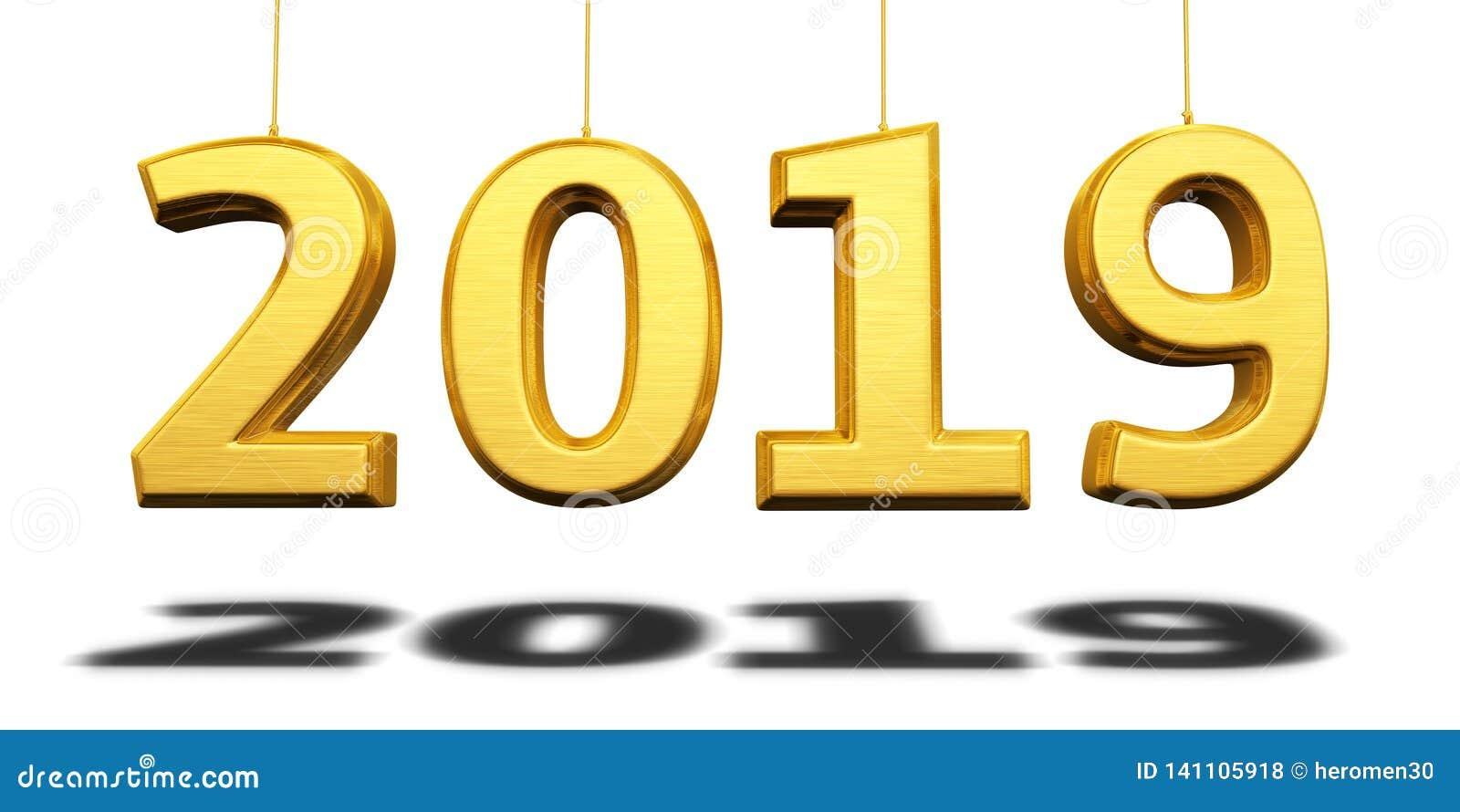 Nieuwjaar 2019 gele geeft 3d terug