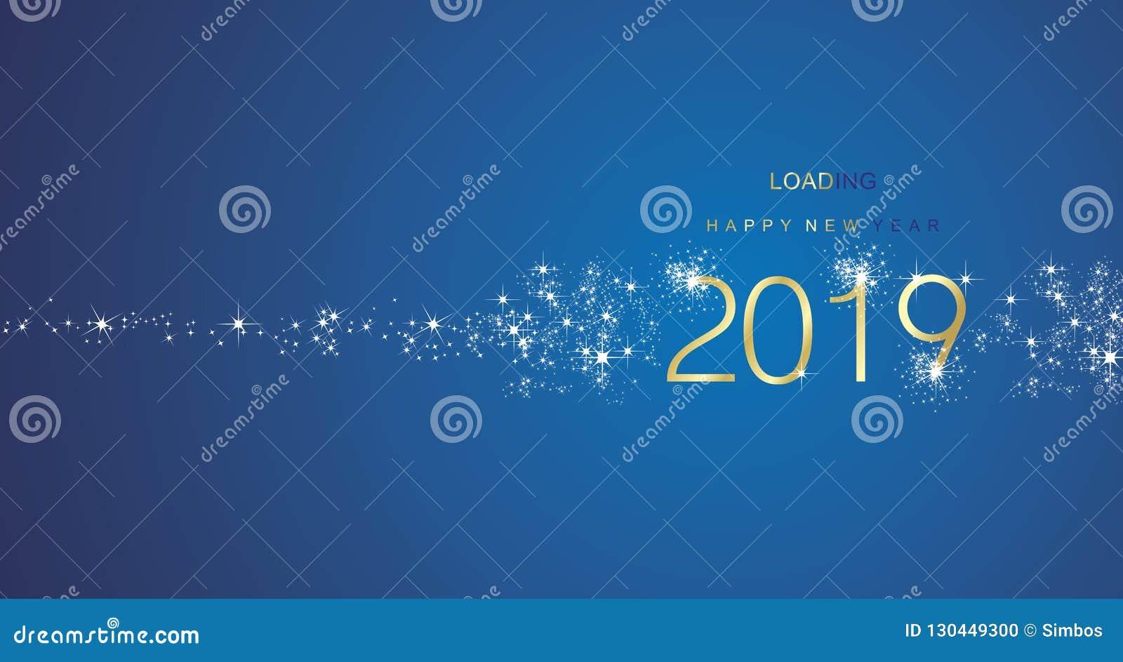 Nieuwjaar 2019 groeten die vector van de vuurwerk de gouden witte blauwe kleur laden