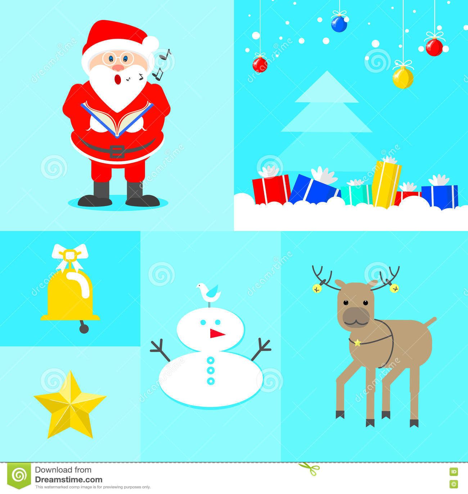Nieuwjaar` s collage Kerstman die Kerstmisboom met giften zingen, rei
