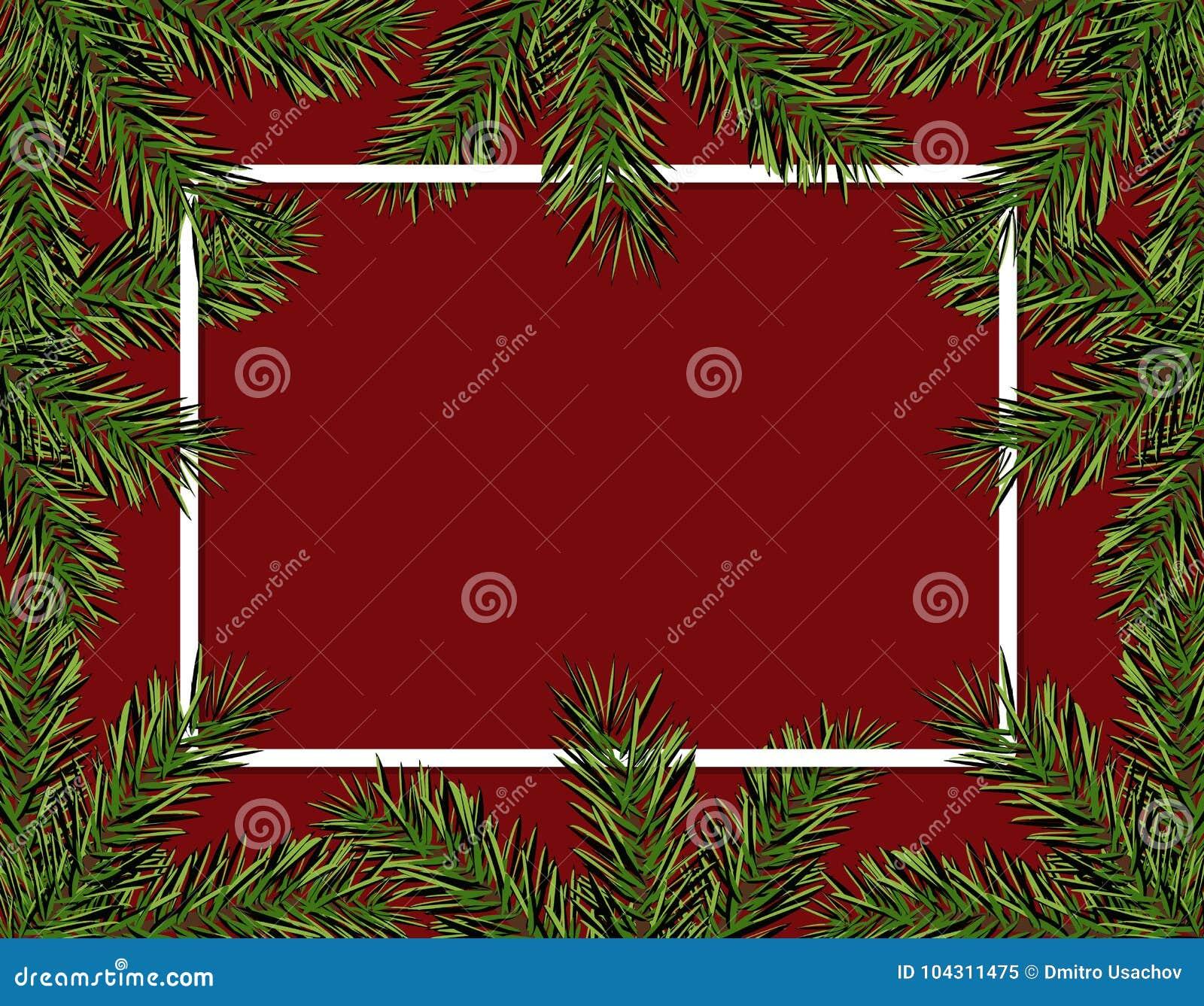 Nieuwjaarkerstmis Groene nette takken in een cirkel op een rode achtergrond Kader voor reclame en advertenties Geïsoleerde