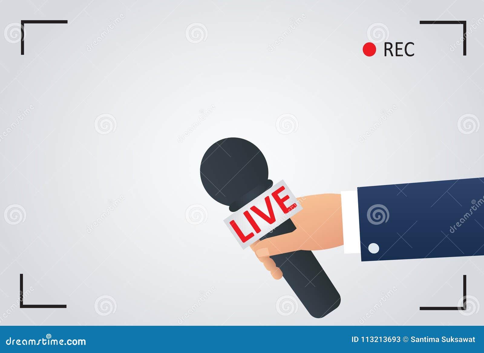 Nieuwsillustratie op nadruktv en levend met het verslag van het camerakader verslaggever met microfoon, journalistsymbool